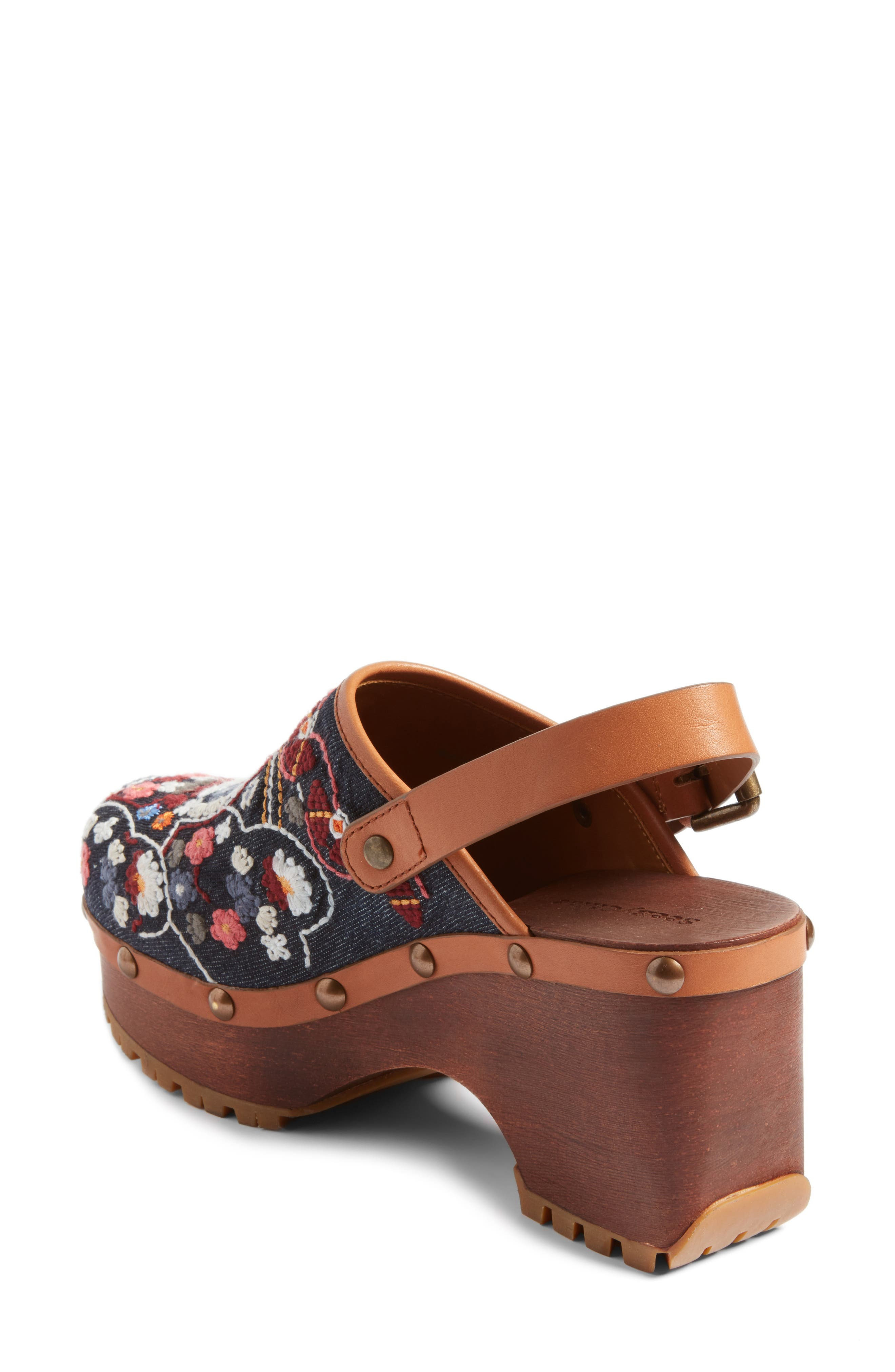 Tasha Embroidered Clog,                             Alternate thumbnail 2, color,                             Denim/ Multi