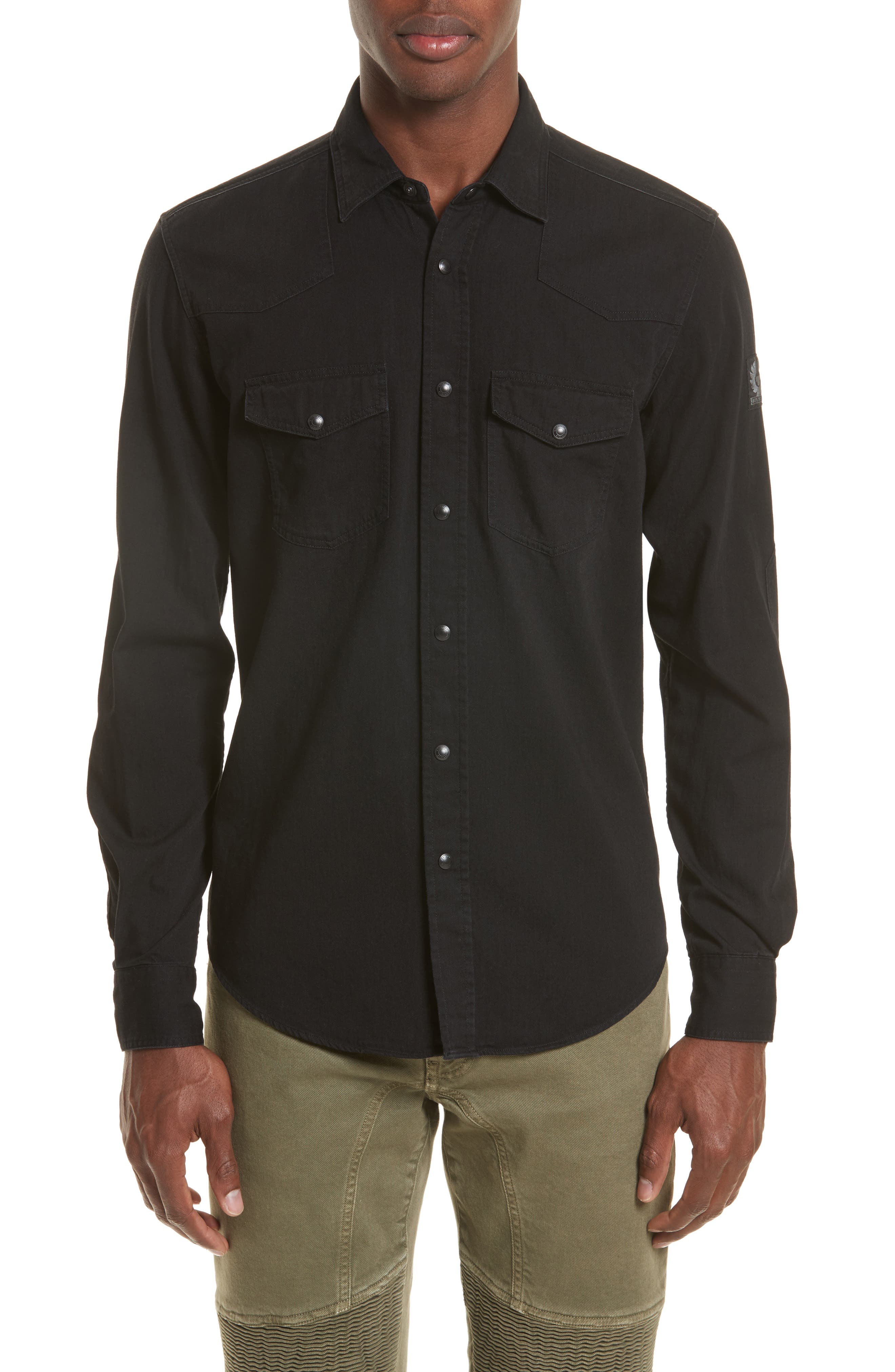 Somerford Extra Trim Fit Denim Shirt,                         Main,                         color, Black