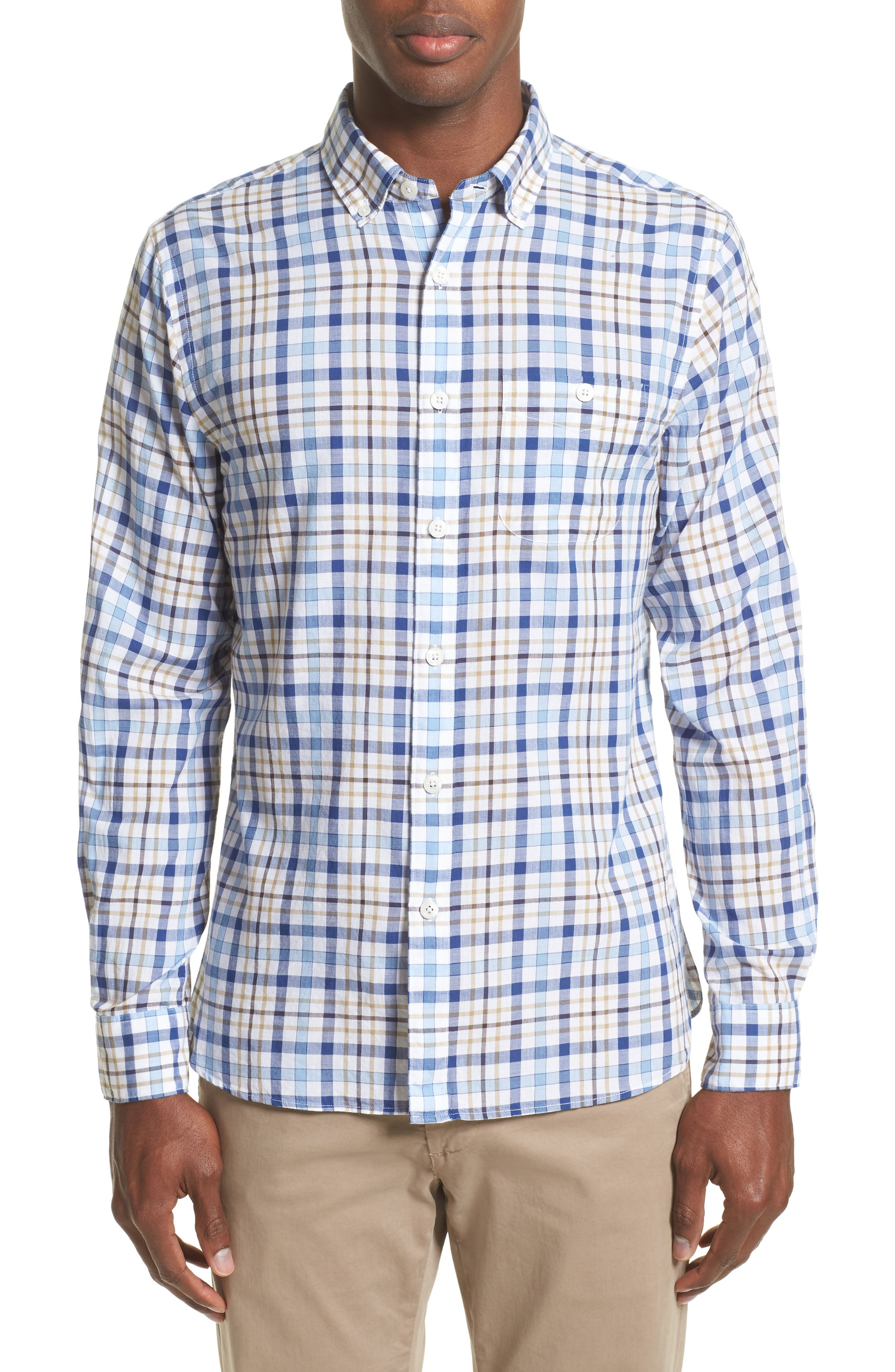 Alternate Image 1 Selected - Todd Snyder Trim Fit Plaid Sport Shirt