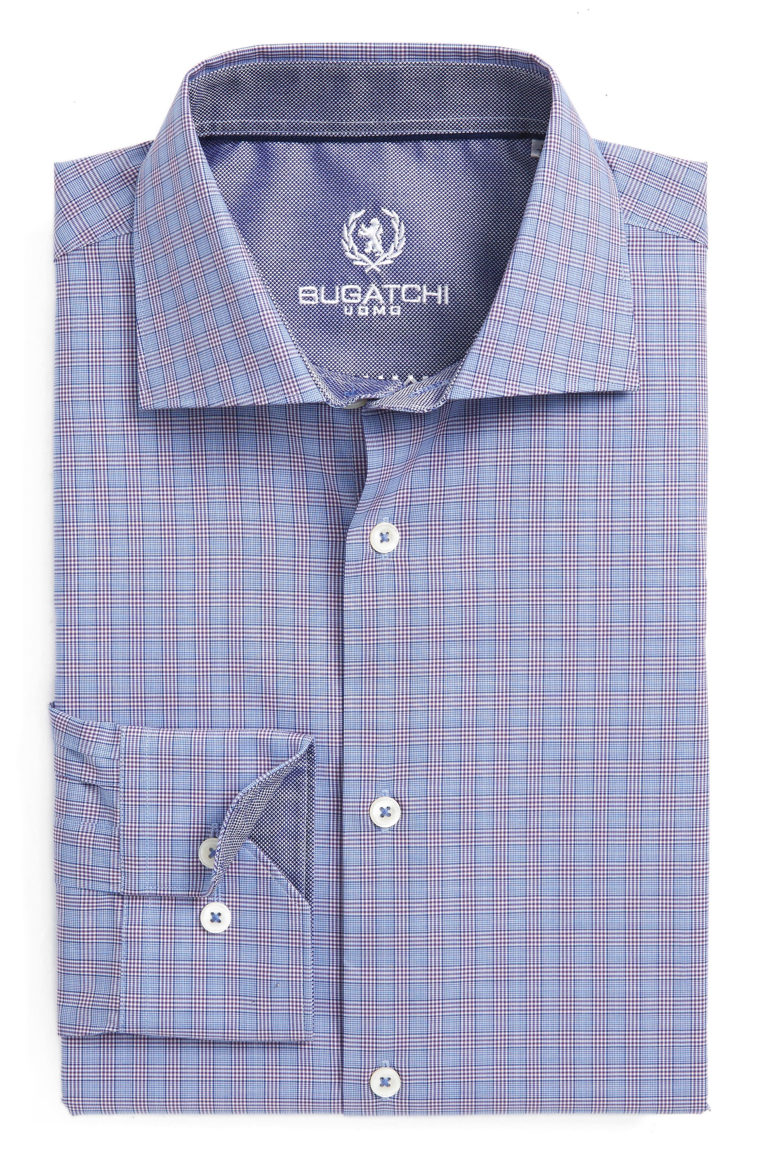 Trim Fit Plaid Dress Shirt,                             Main thumbnail 1, color,                             Classic Blue