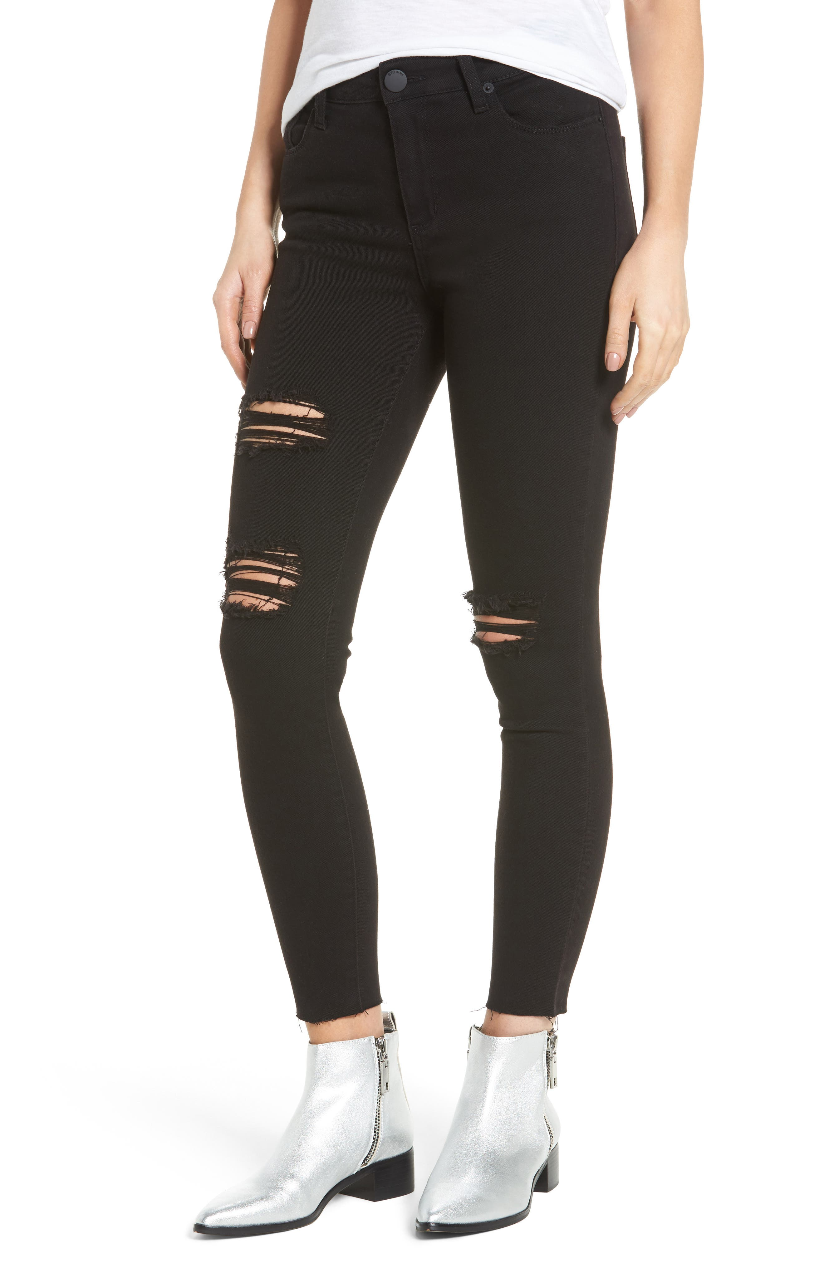 Ashley High Waist Ankle Skinny Jeans,                         Main,                         color, Black