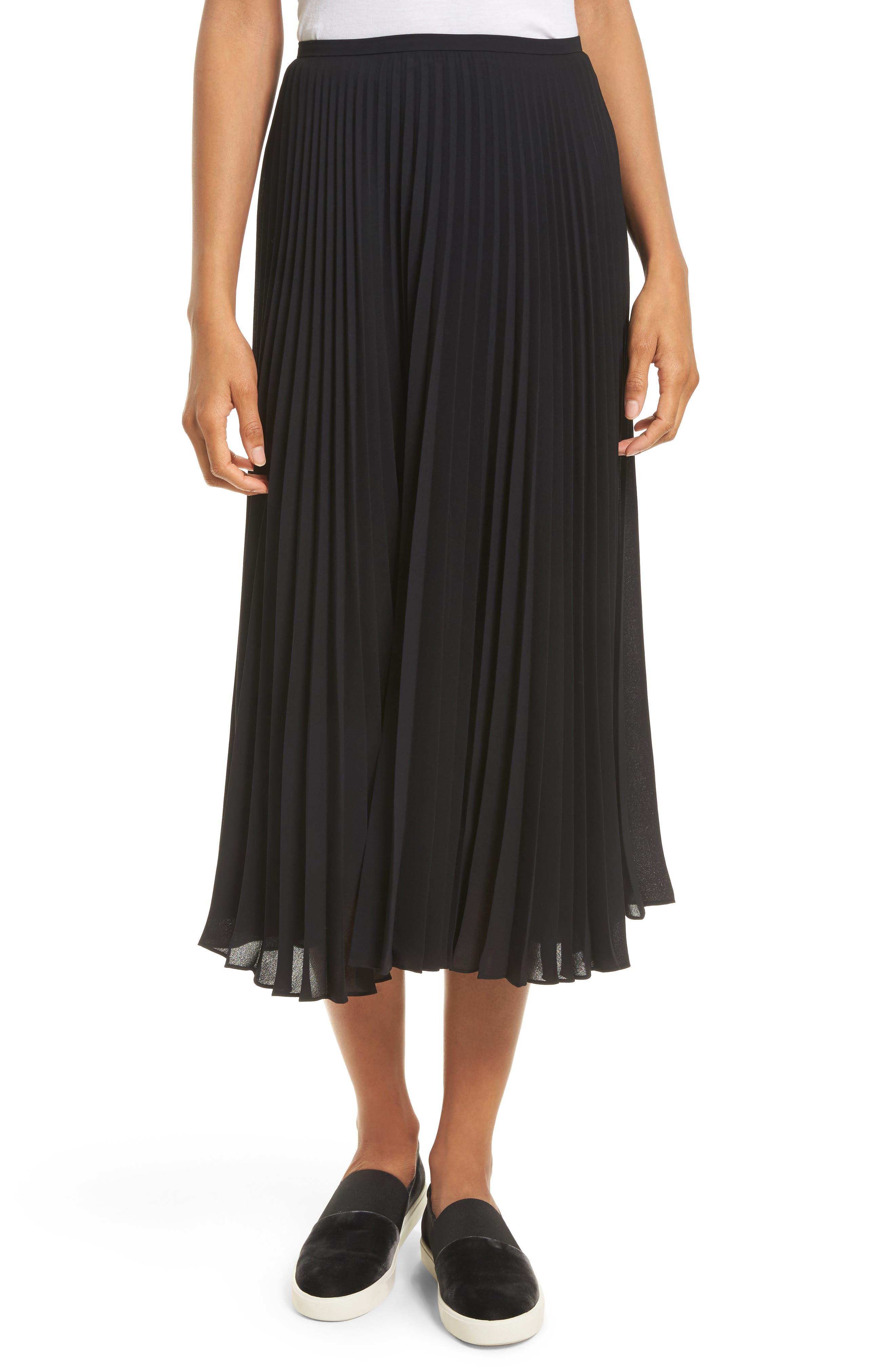 Pleated Chiffon Midi Skirt,                         Main,                         color, Black