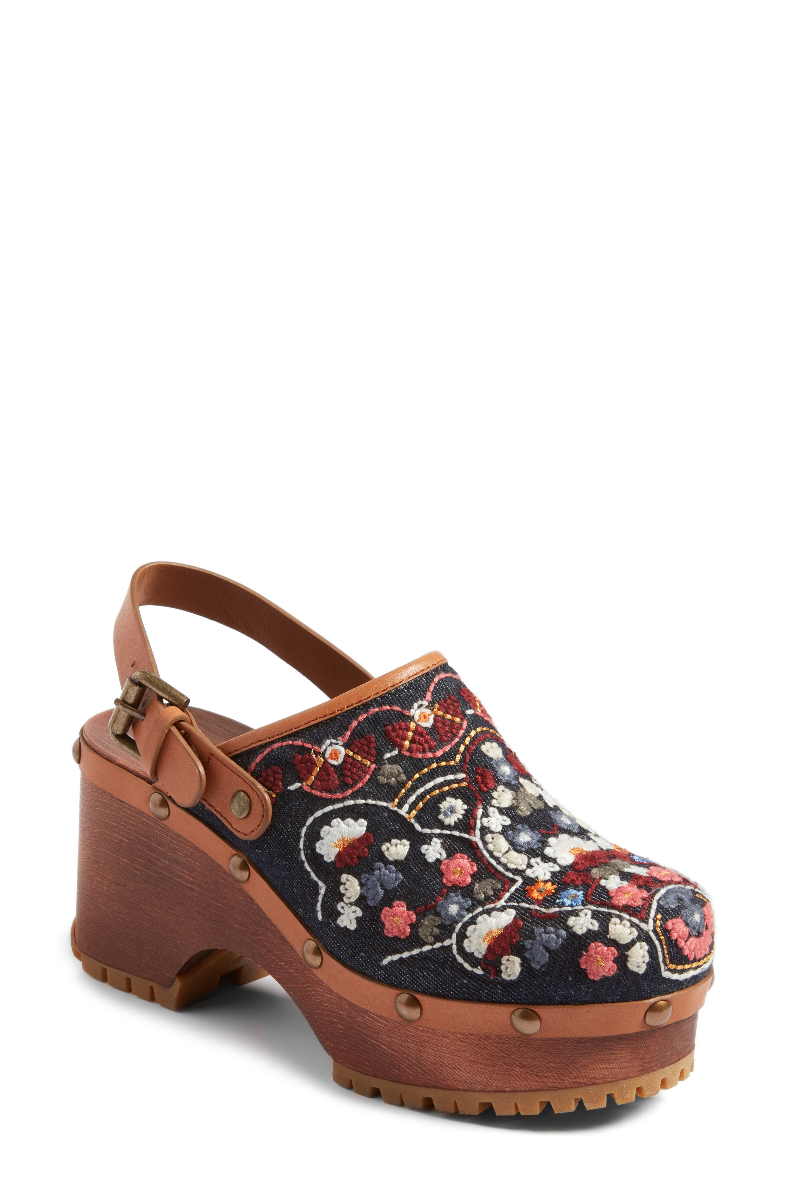 Tasha Embroidered Clog,                             Main thumbnail 1, color,                             Denim/ Multi