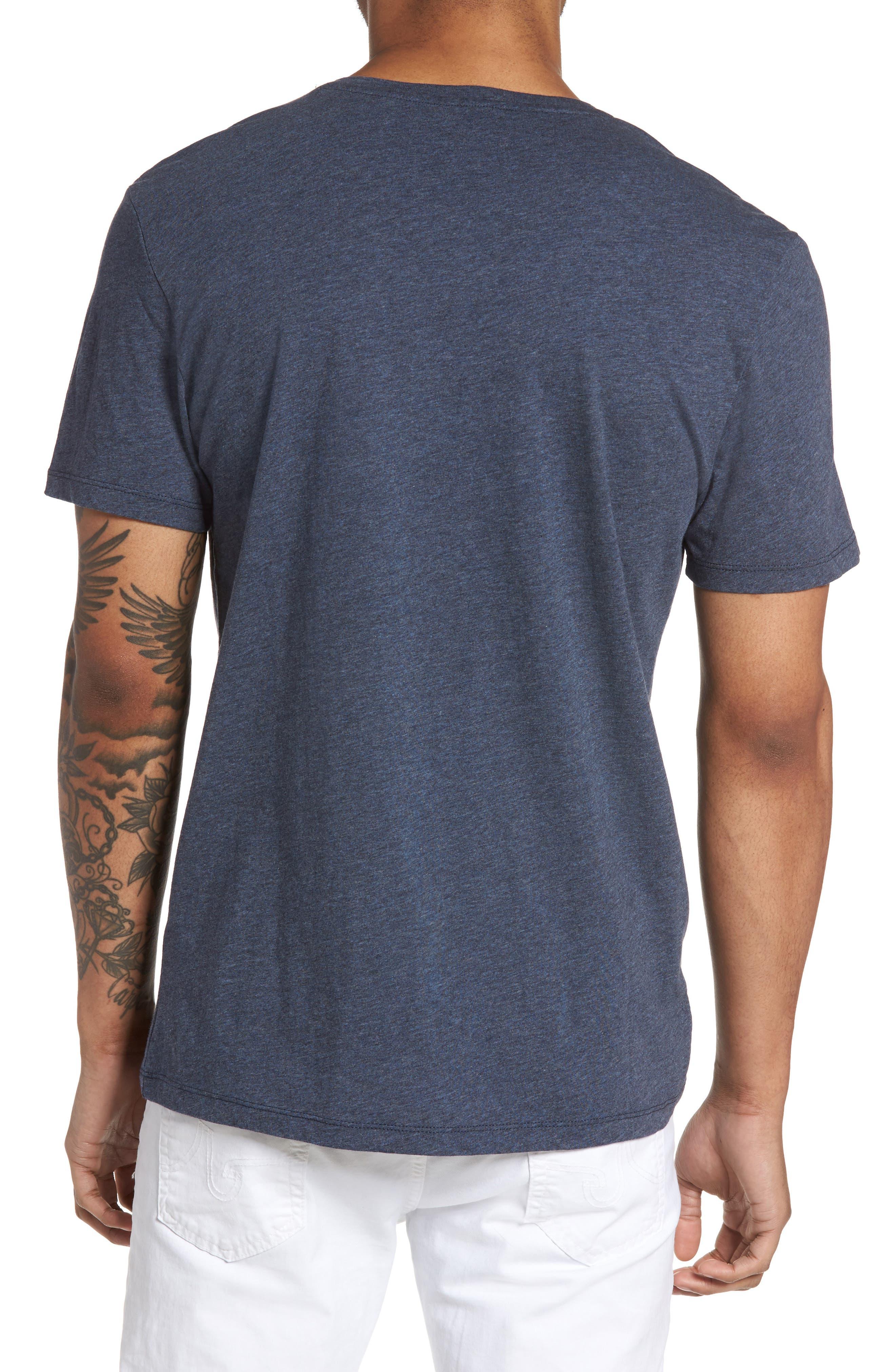Slim V-Neck T-Shirt,                             Alternate thumbnail 2, color,                             Heather Navy