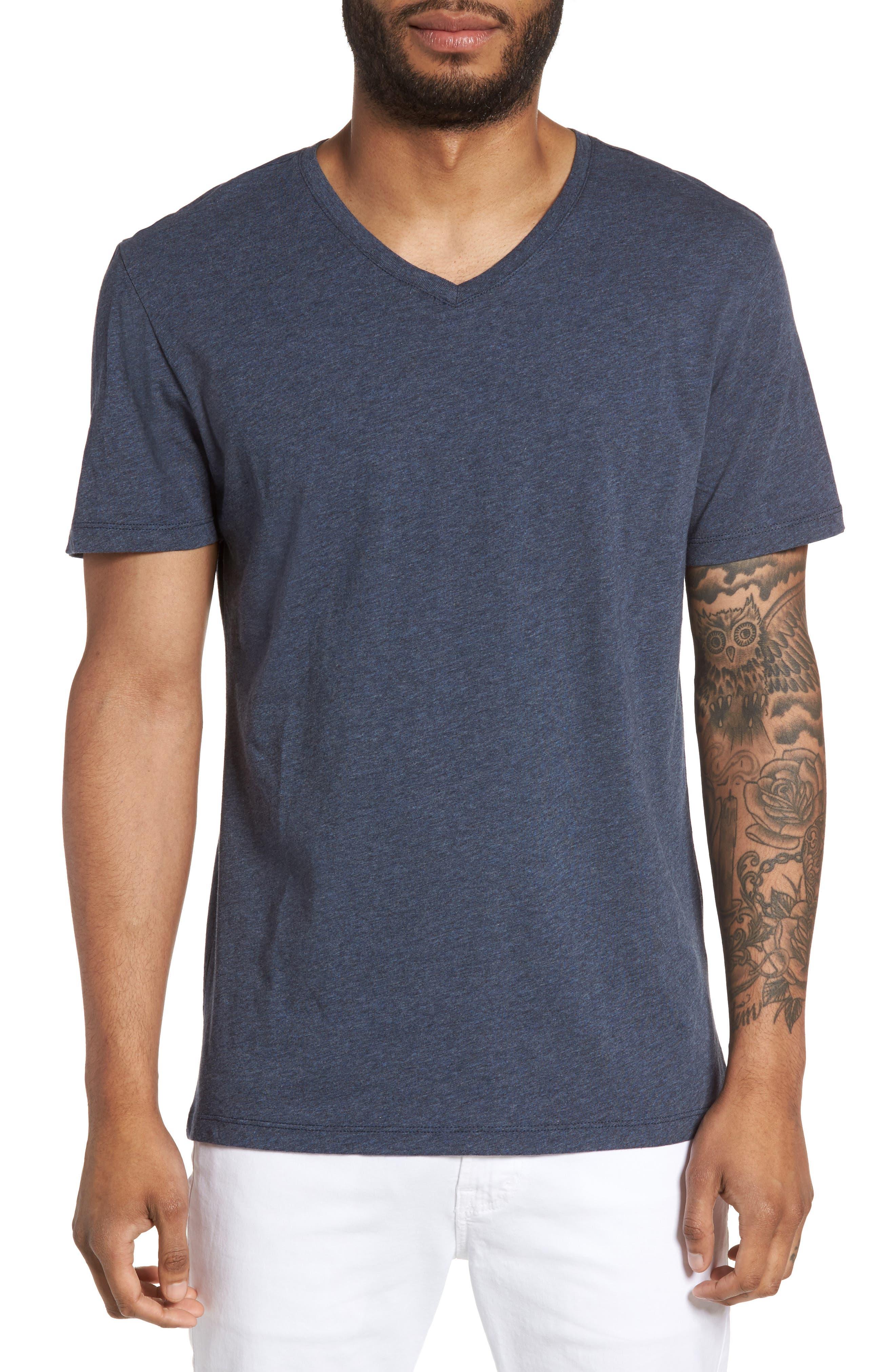 Slim V-Neck T-Shirt,                         Main,                         color, Heather Navy