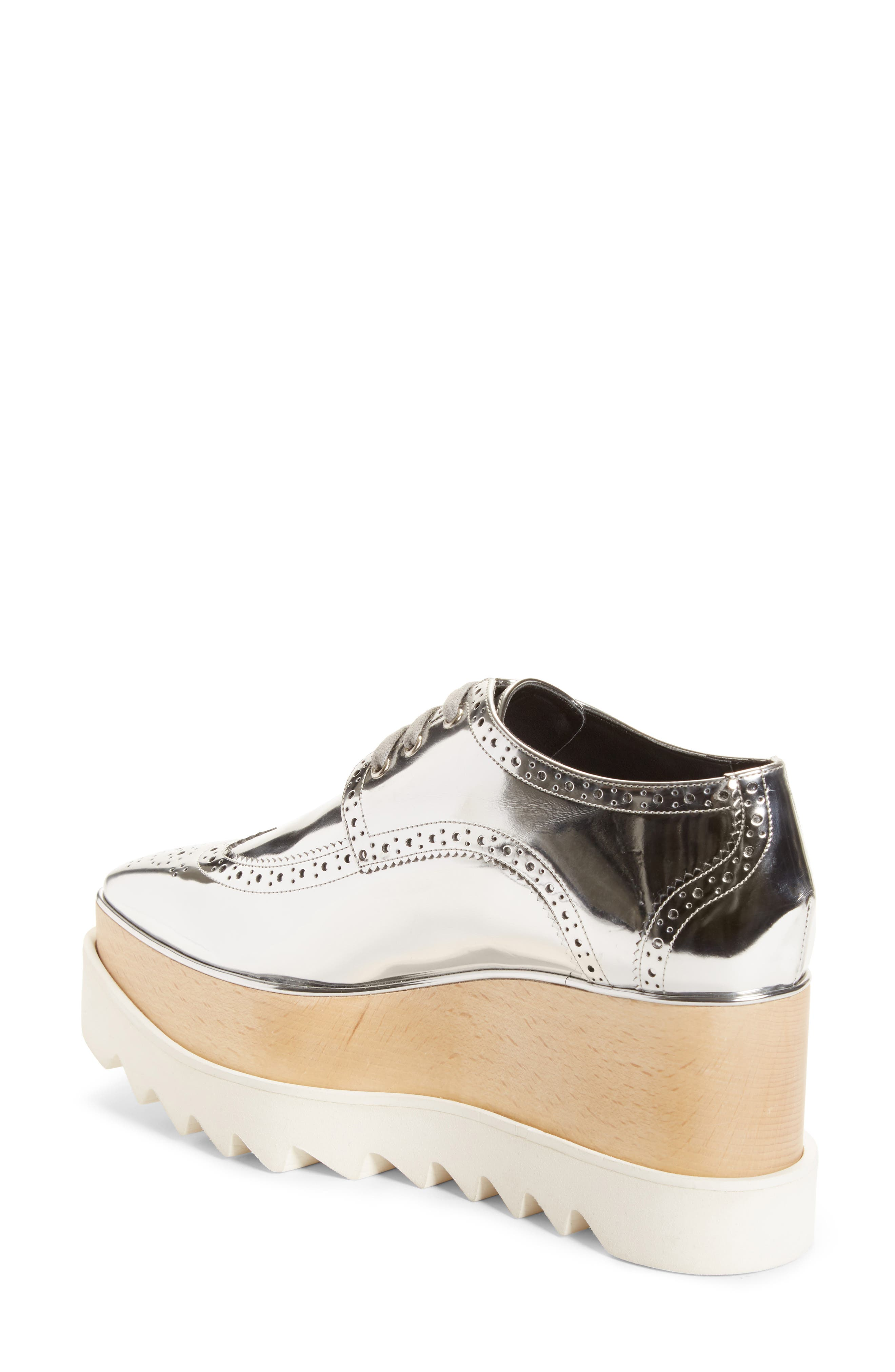 Elyse Brogue Platform Loafer,                             Alternate thumbnail 2, color,                             Metallic Silver