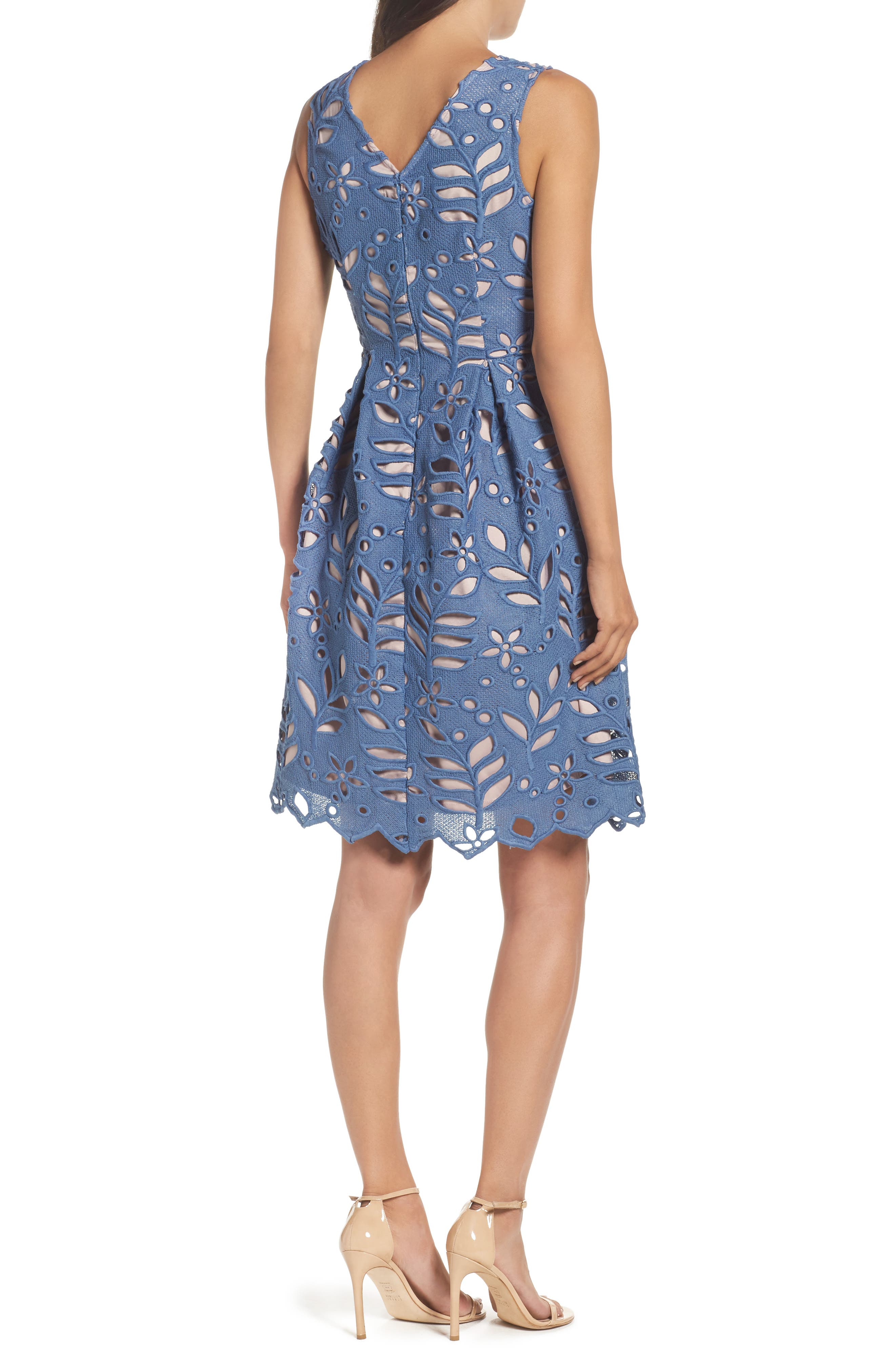 Alternate Image 2  - Adrianna Papell Bella Lace Fit & Flare Dress