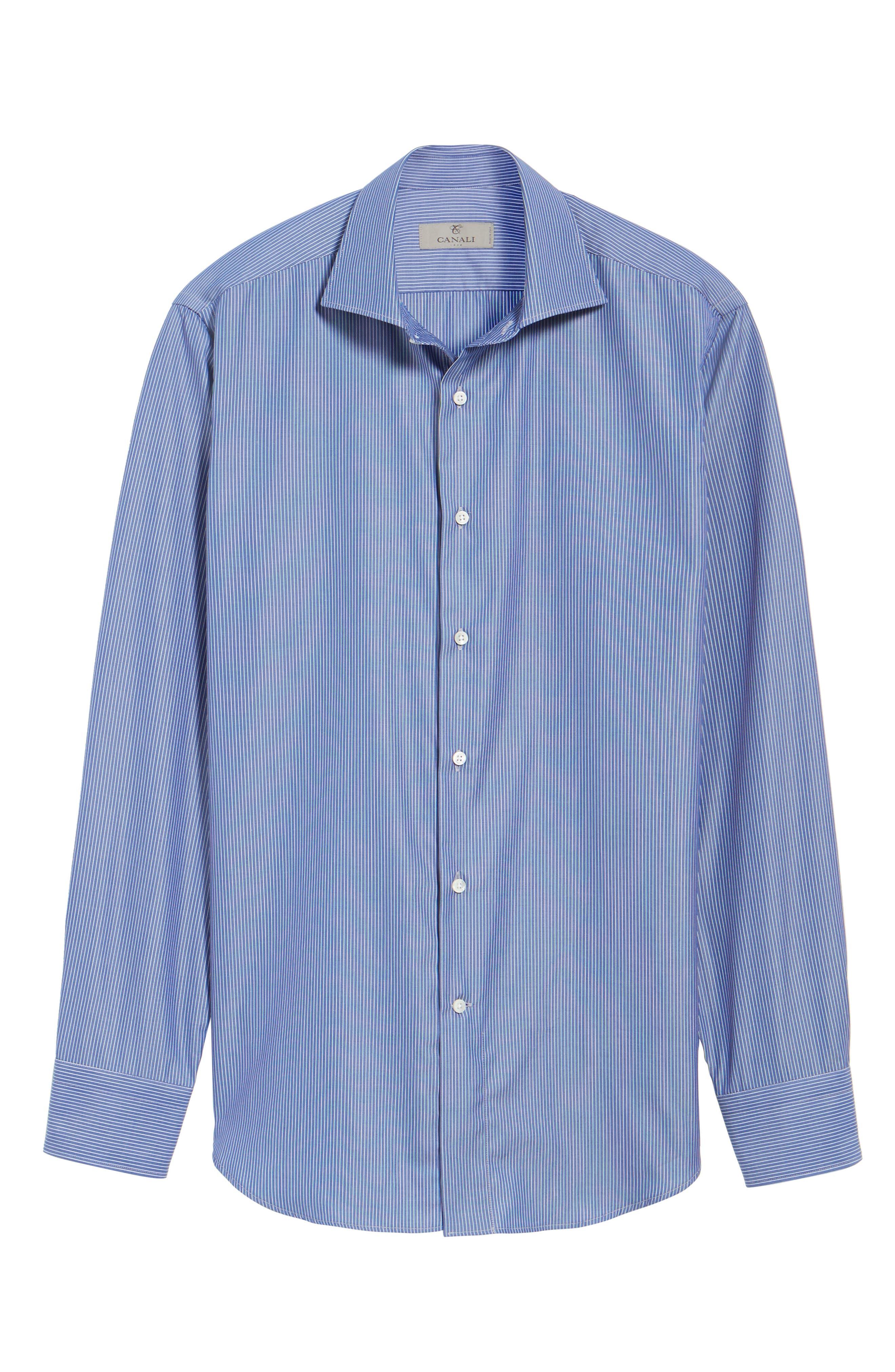 Alternate Image 5  - Canali Regular Fit Stripe Dress Shirt