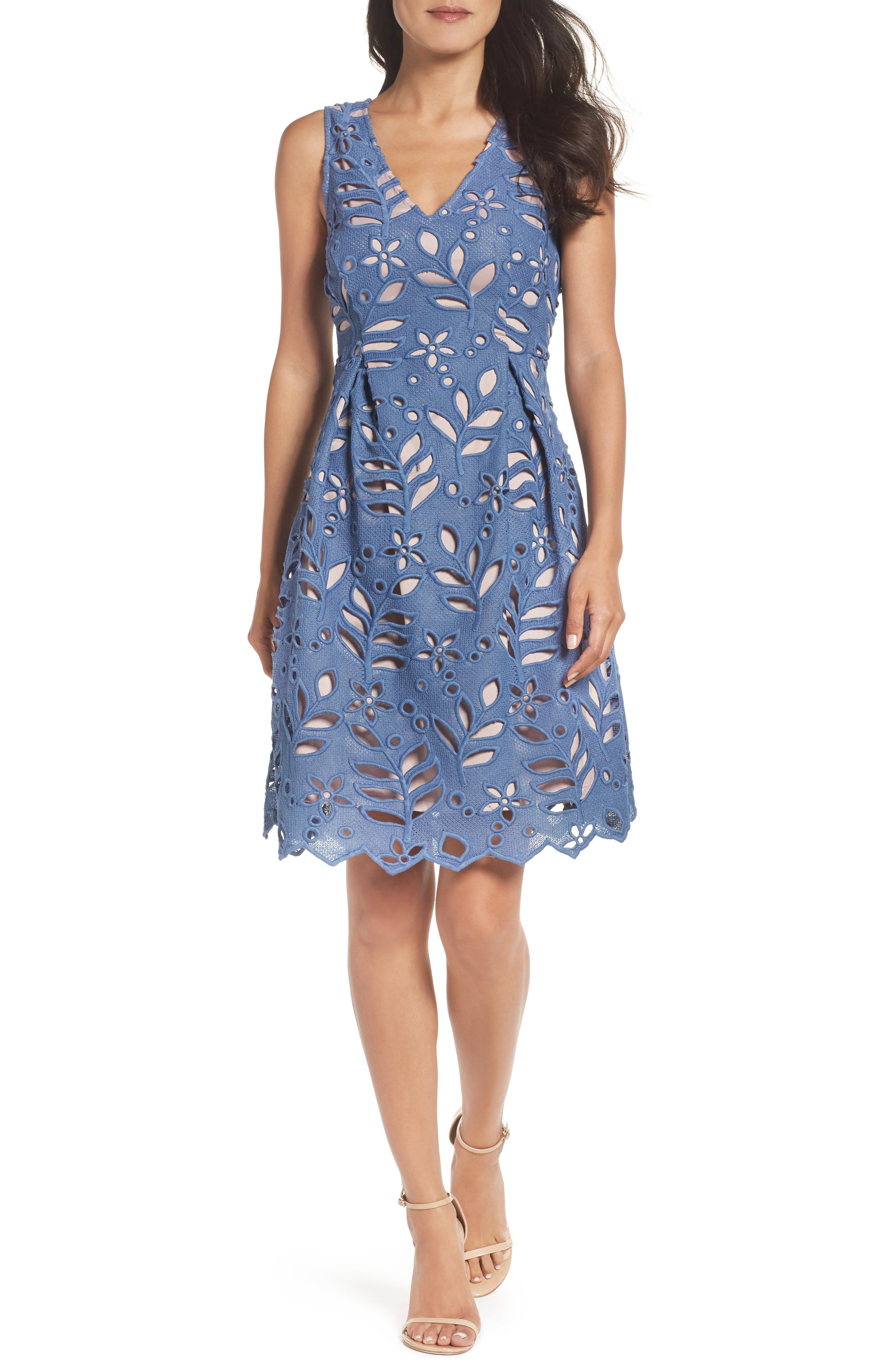 Alternate Image 1 Selected - Adrianna Papell Bella Lace Fit & Flare Dress