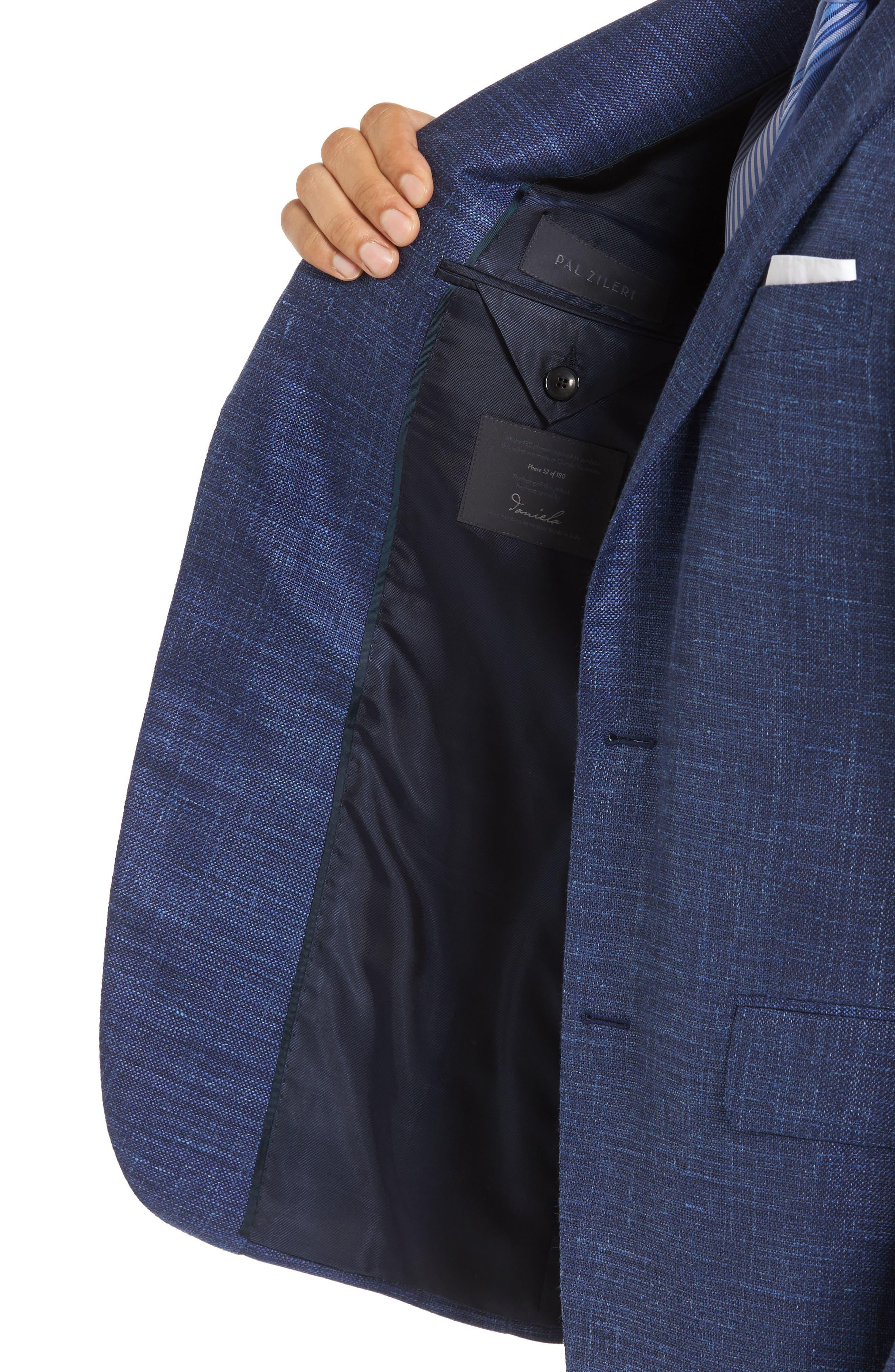 Plaid Wool Blend Blazer,                             Alternate thumbnail 4, color,                             Blue
