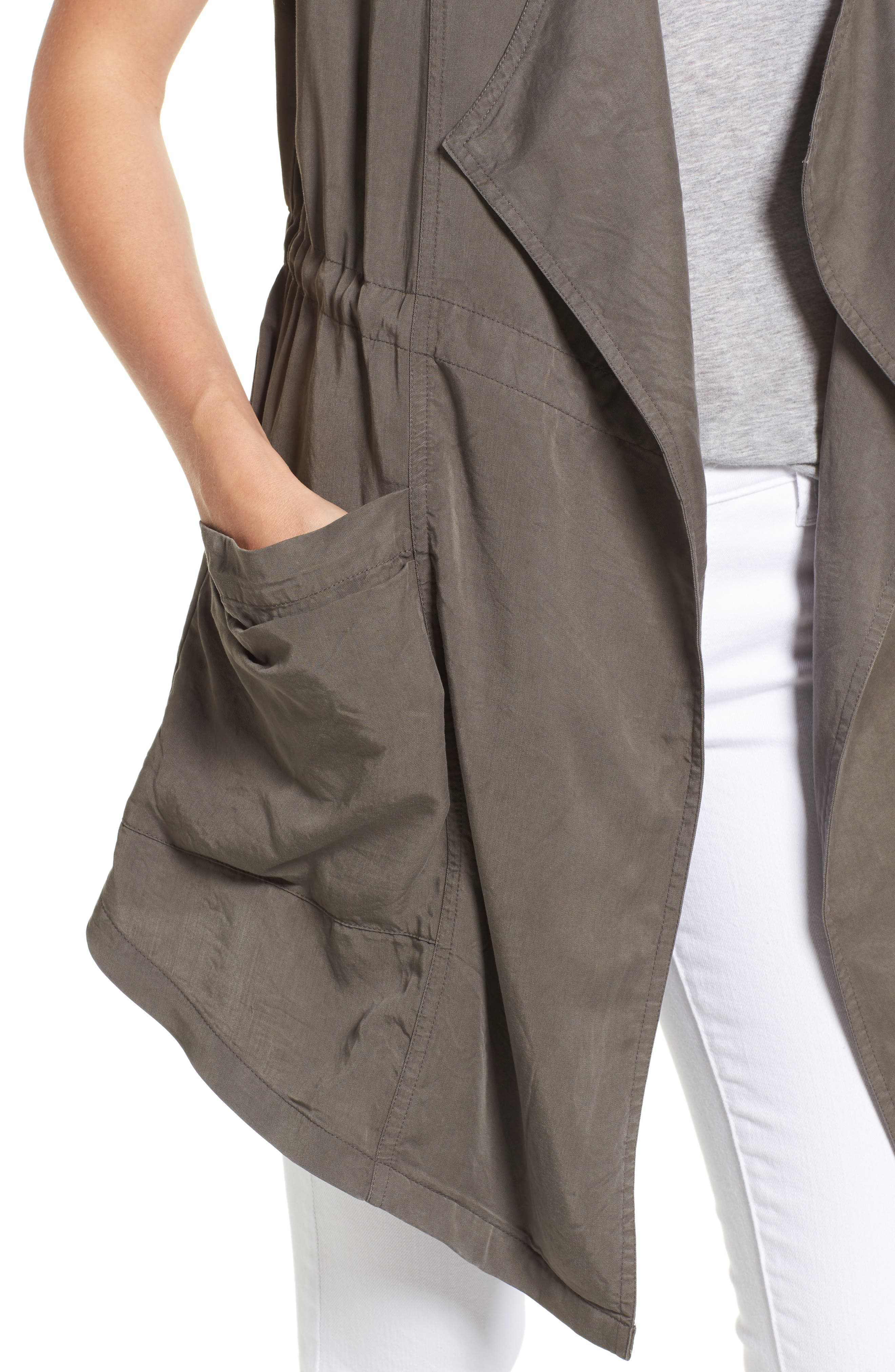 Drape Front Utility Vest,                             Alternate thumbnail 4, color,                             Olive