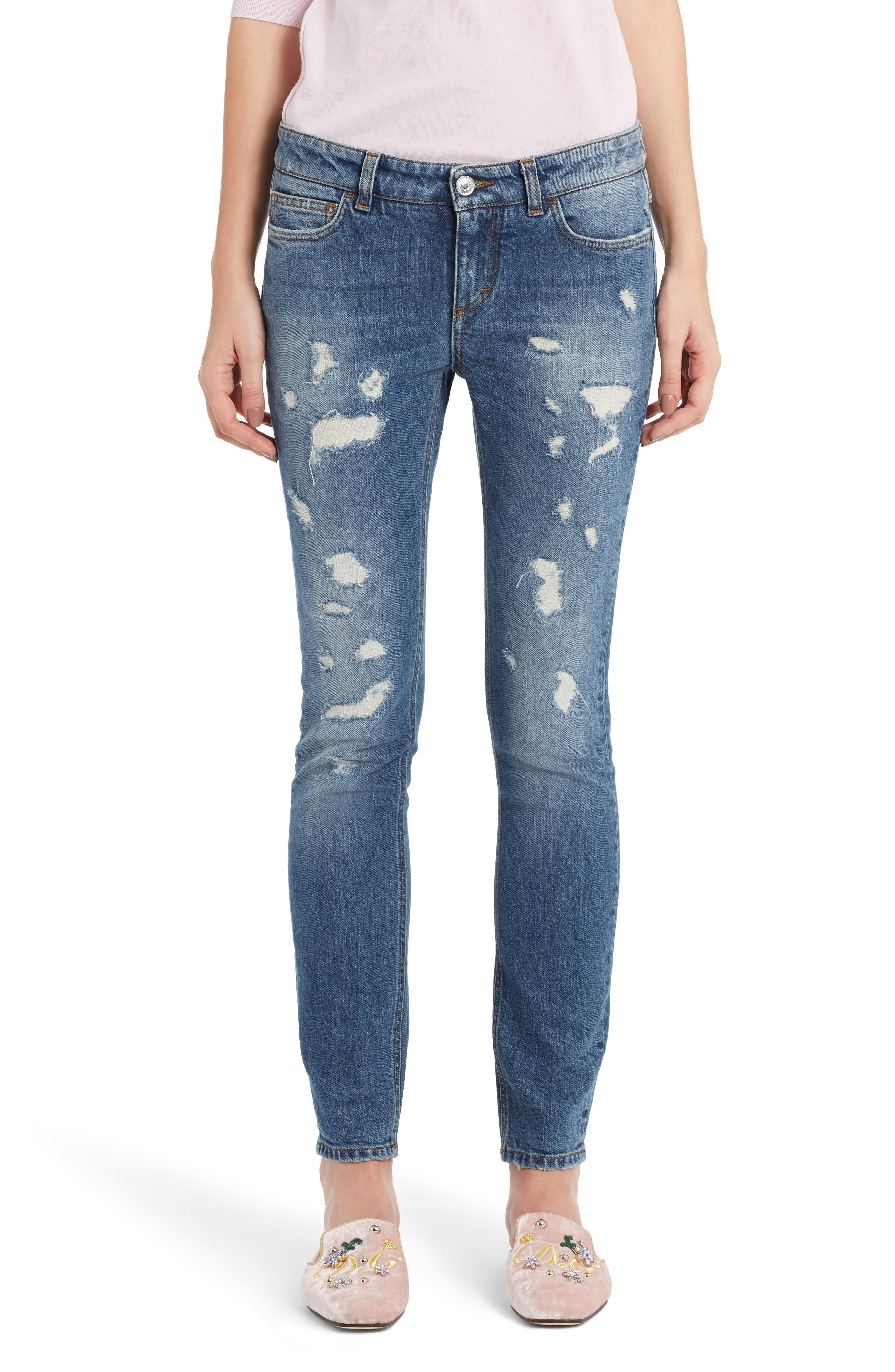 Alternate Image 1 Selected - Dolce&Gabbana Ripped Skinny Jeans