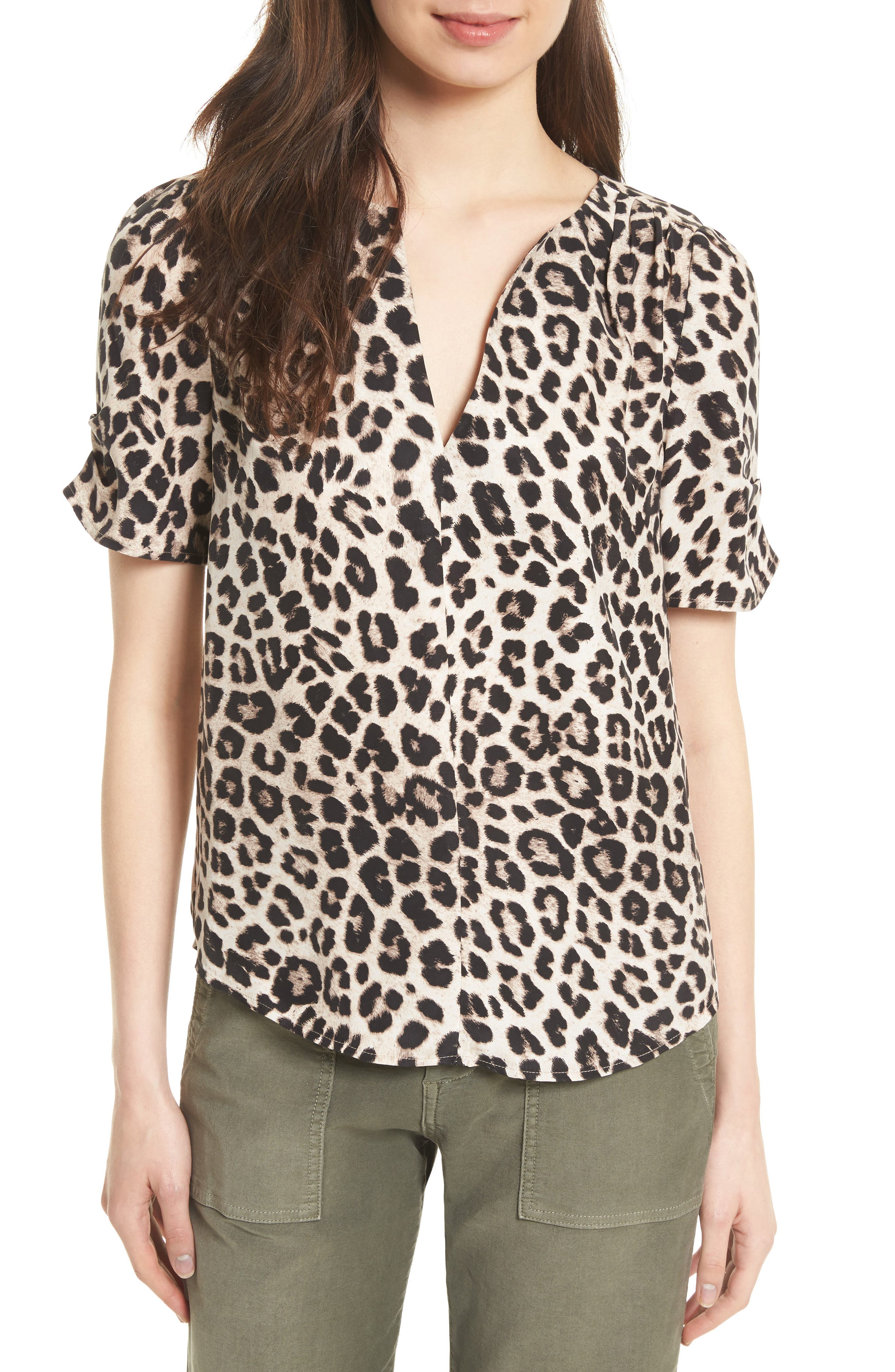 Alternate Image 1 Selected - Joie Amone Leopard Print Silk Top
