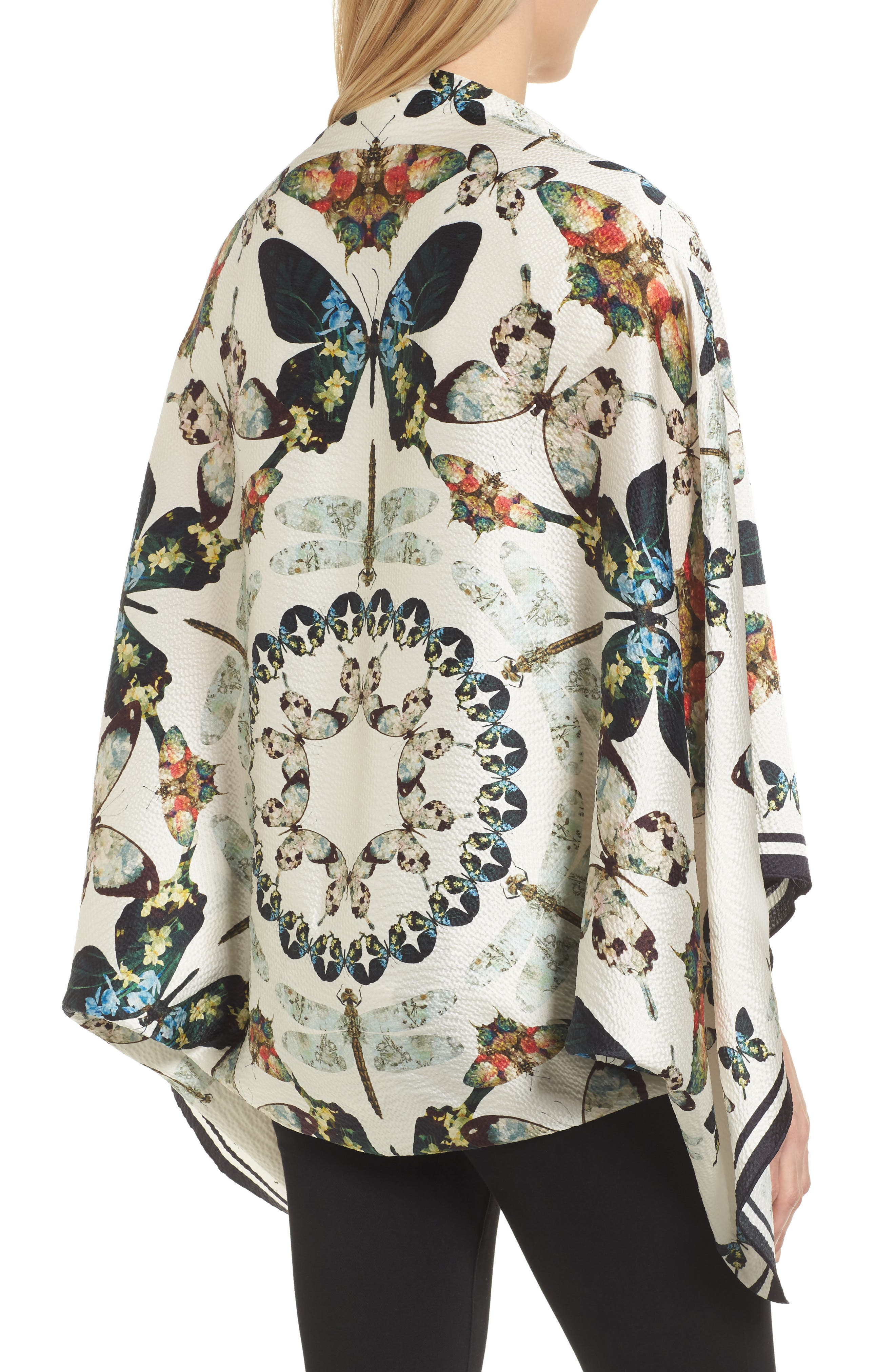 Butterfly Kaleidoscope Silk Cape Scarf,                             Alternate thumbnail 2, color,                             White