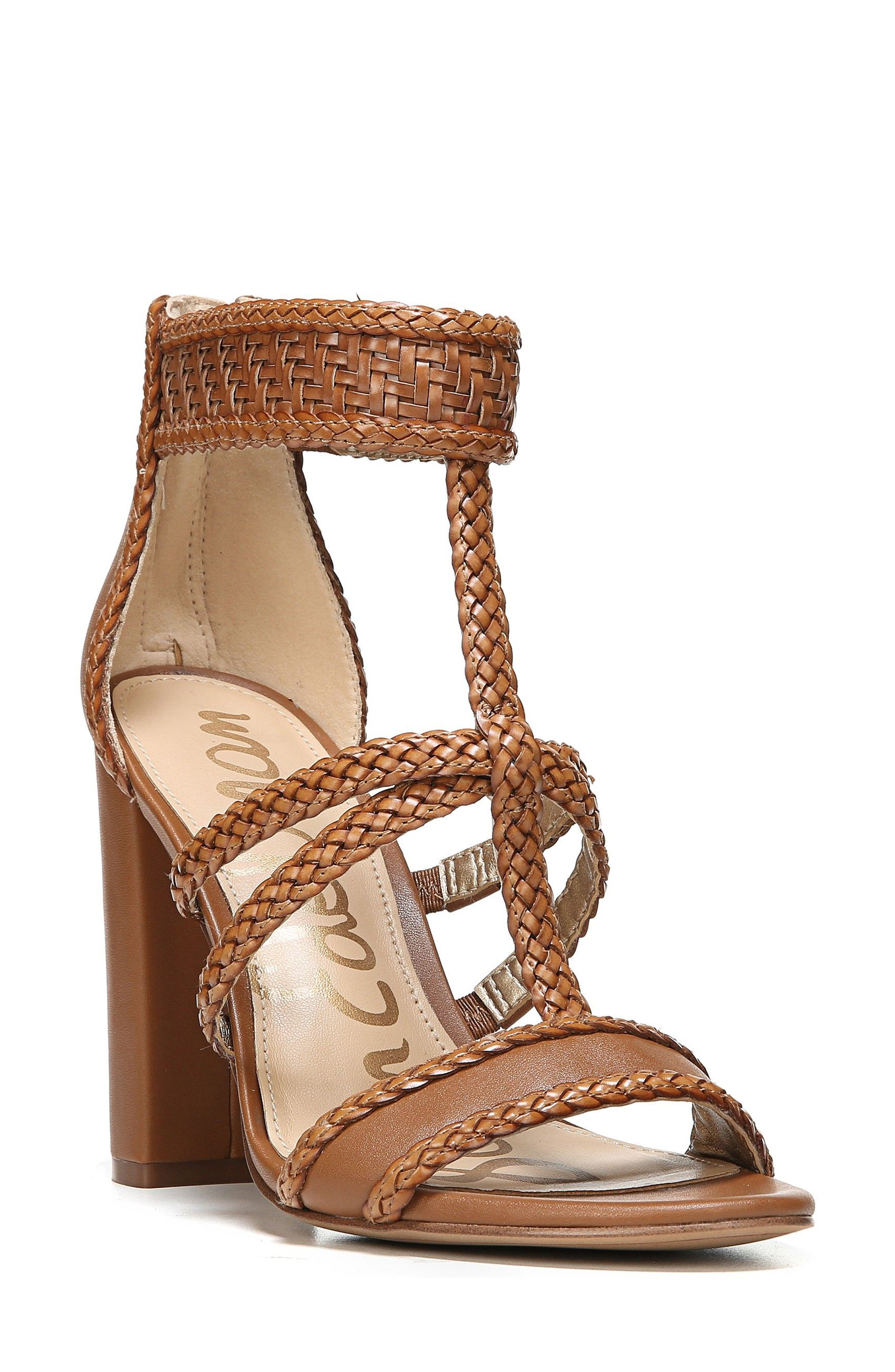 Yordana Woven T-Strap Sandal,                         Main,                         color, Saddle Weave Leather