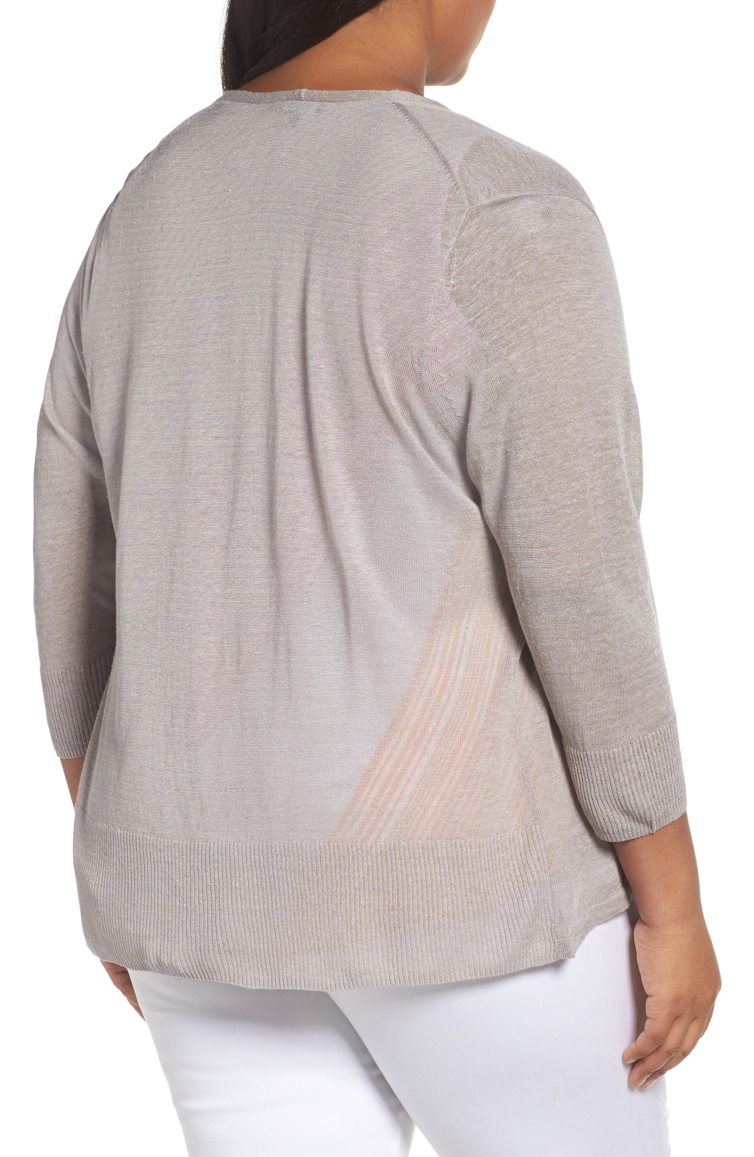 Alternate Image 2  - NIC+ZOE '4-Way' Three Quarter Sleeve Convertible Cardigan (Plus Size)