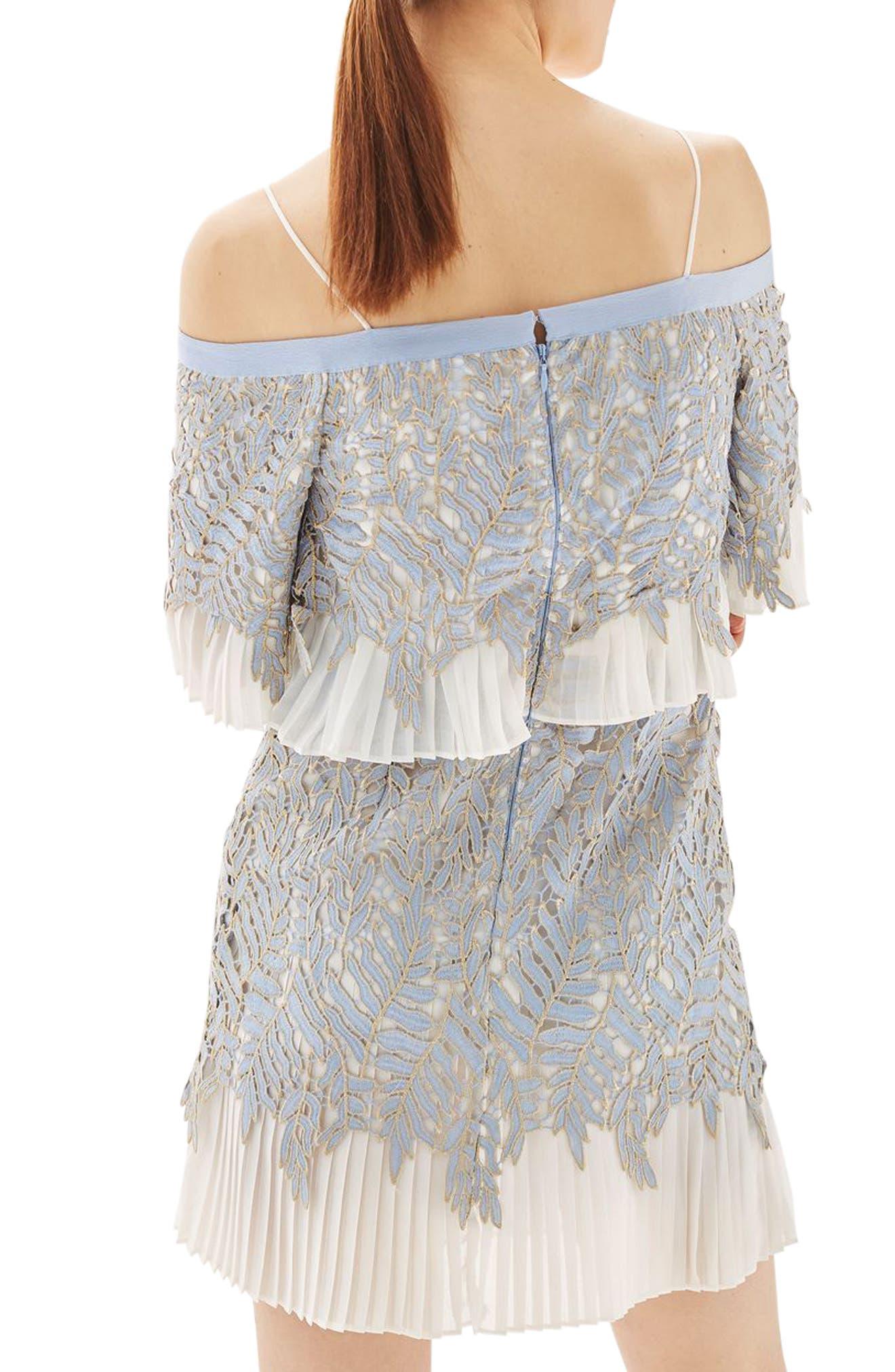 Alternate Image 2  - Topshop Bardot Leaf Pleat Minidress