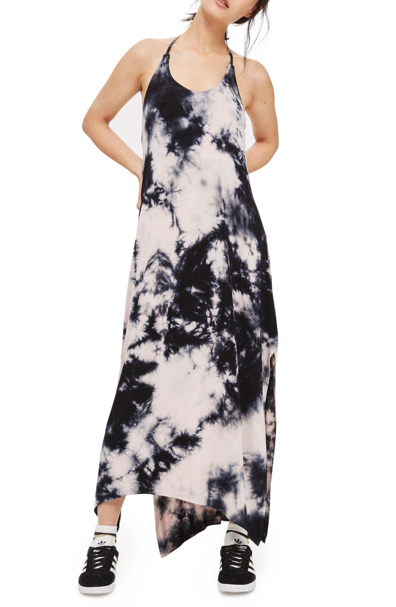 Main Image - Topshop Tie Dye Halter Maxi Dress