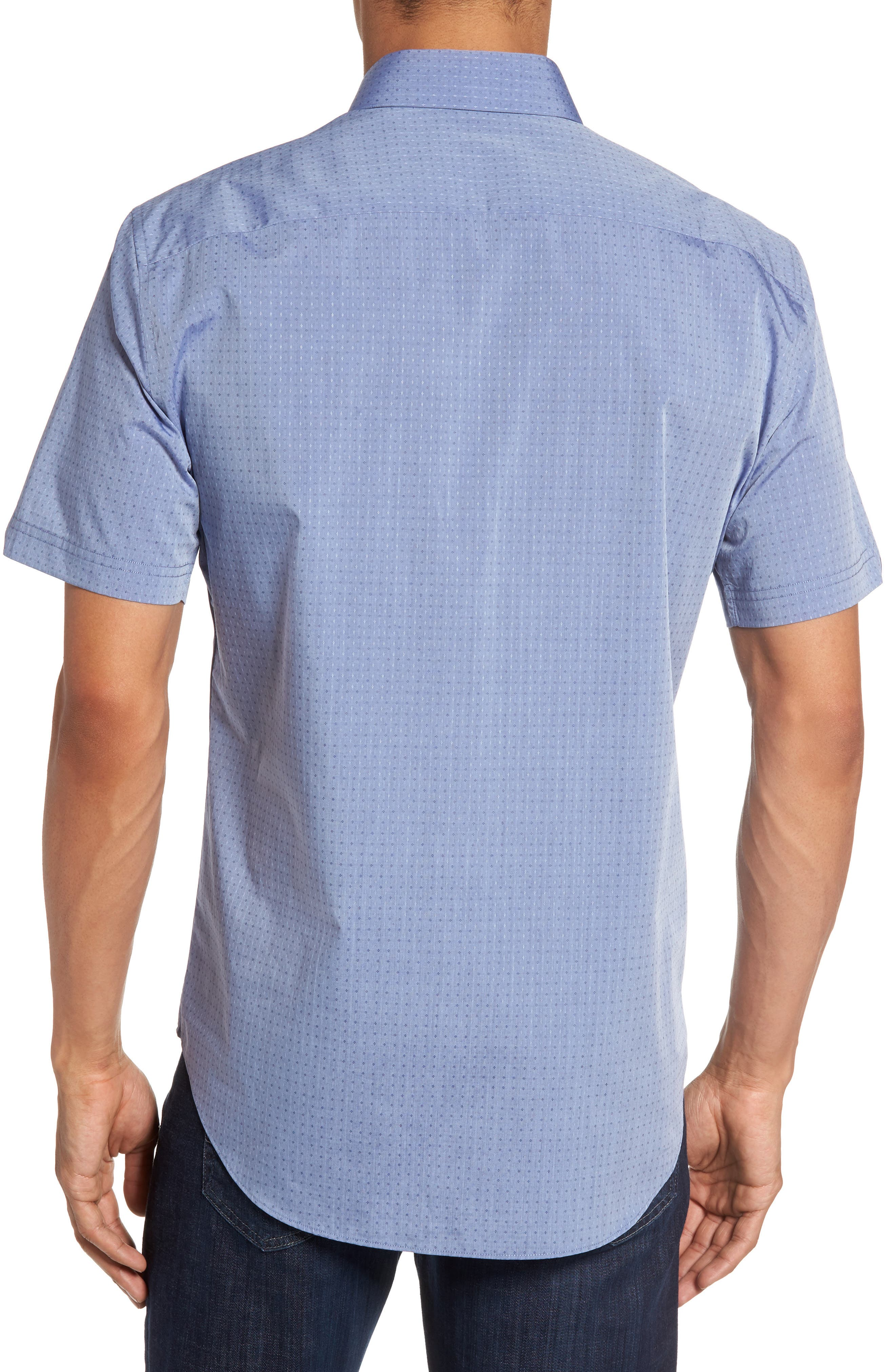 Diamond Print Short Sleeve Sport Shirt,                             Alternate thumbnail 3, color,                             Blue