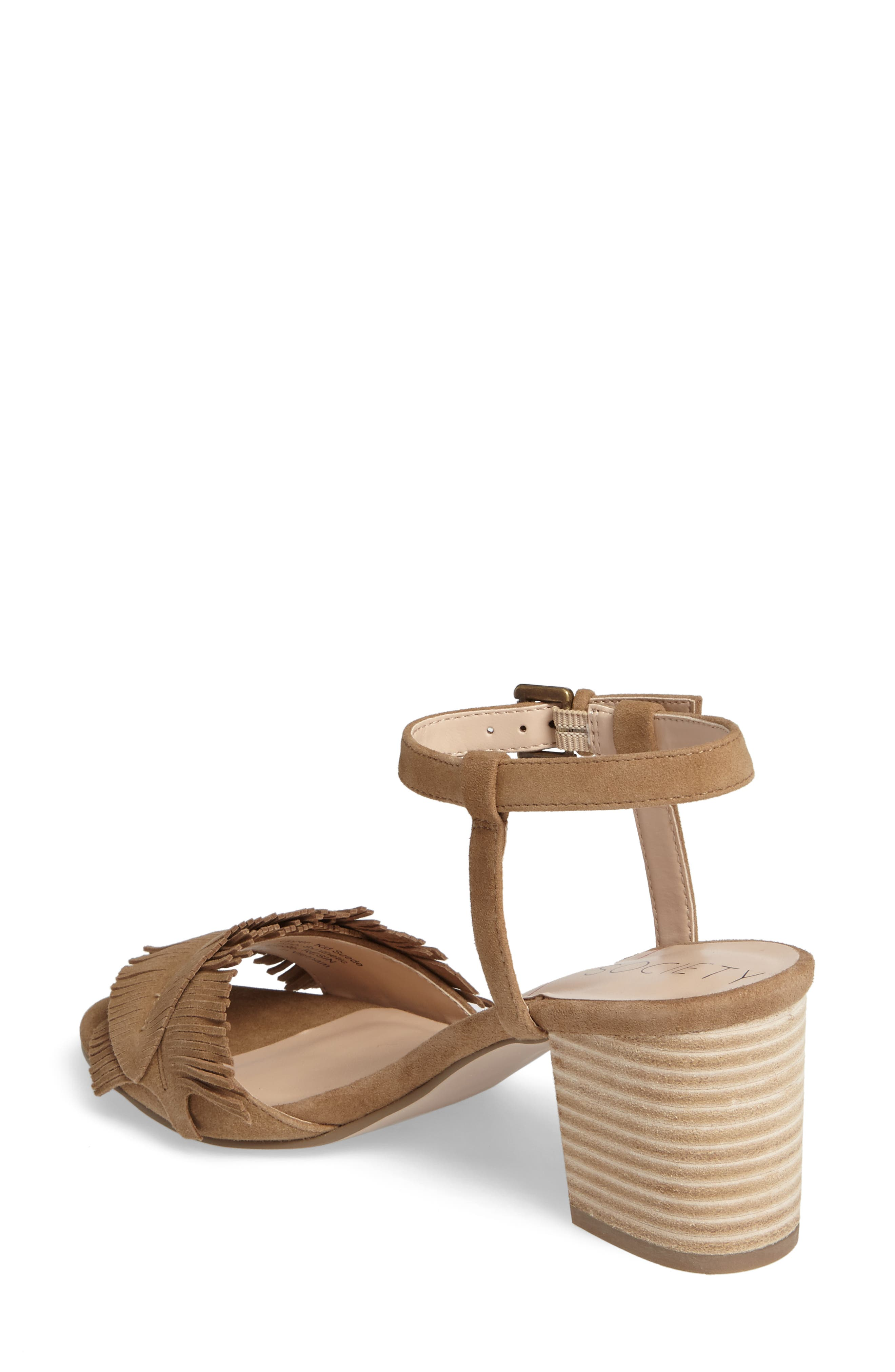 Sepia Fringe Sandal,                             Alternate thumbnail 2, color,                             Coffee Suede