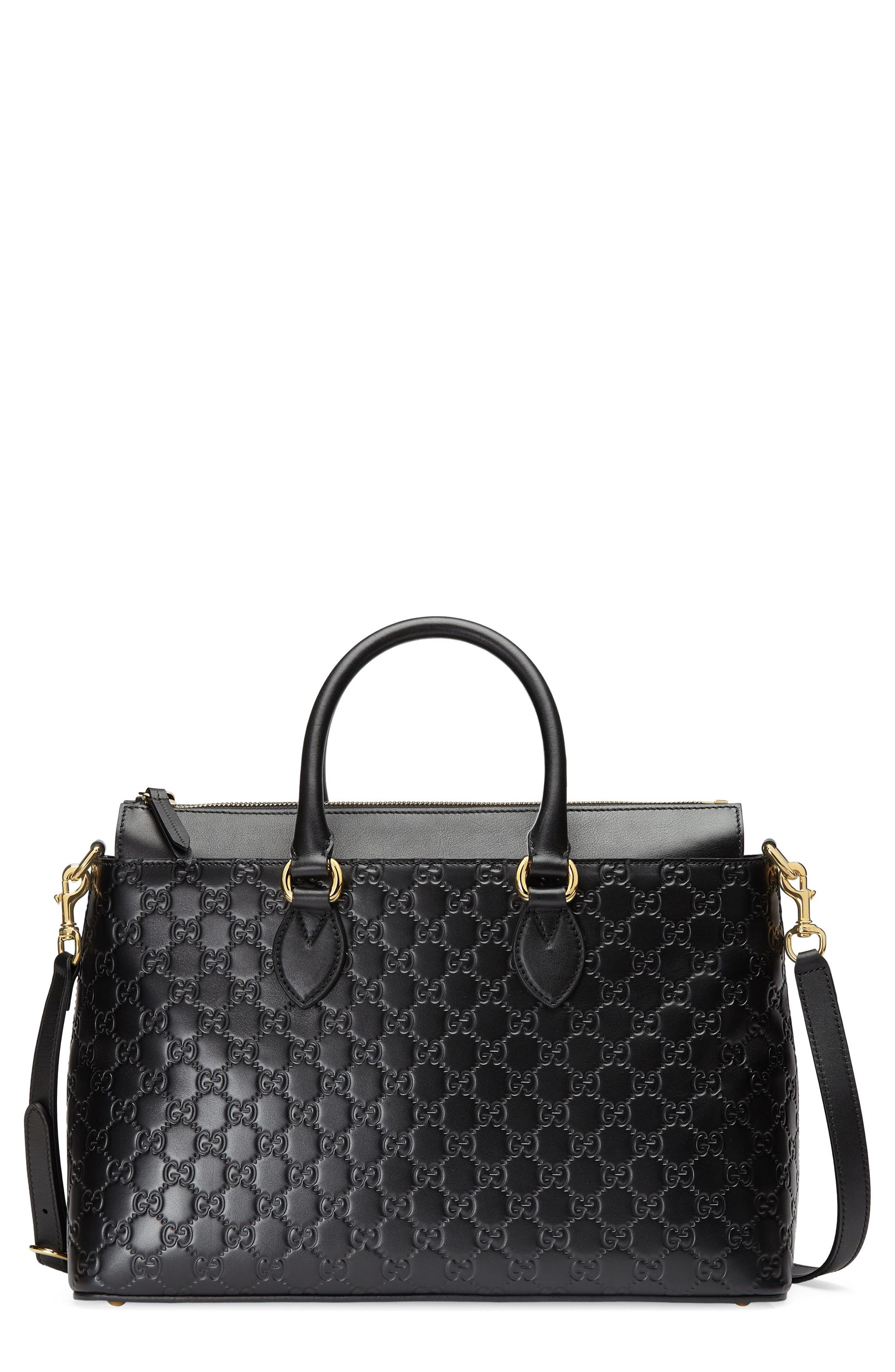 GUCCI Medium Top Handle Signature Leather Tote