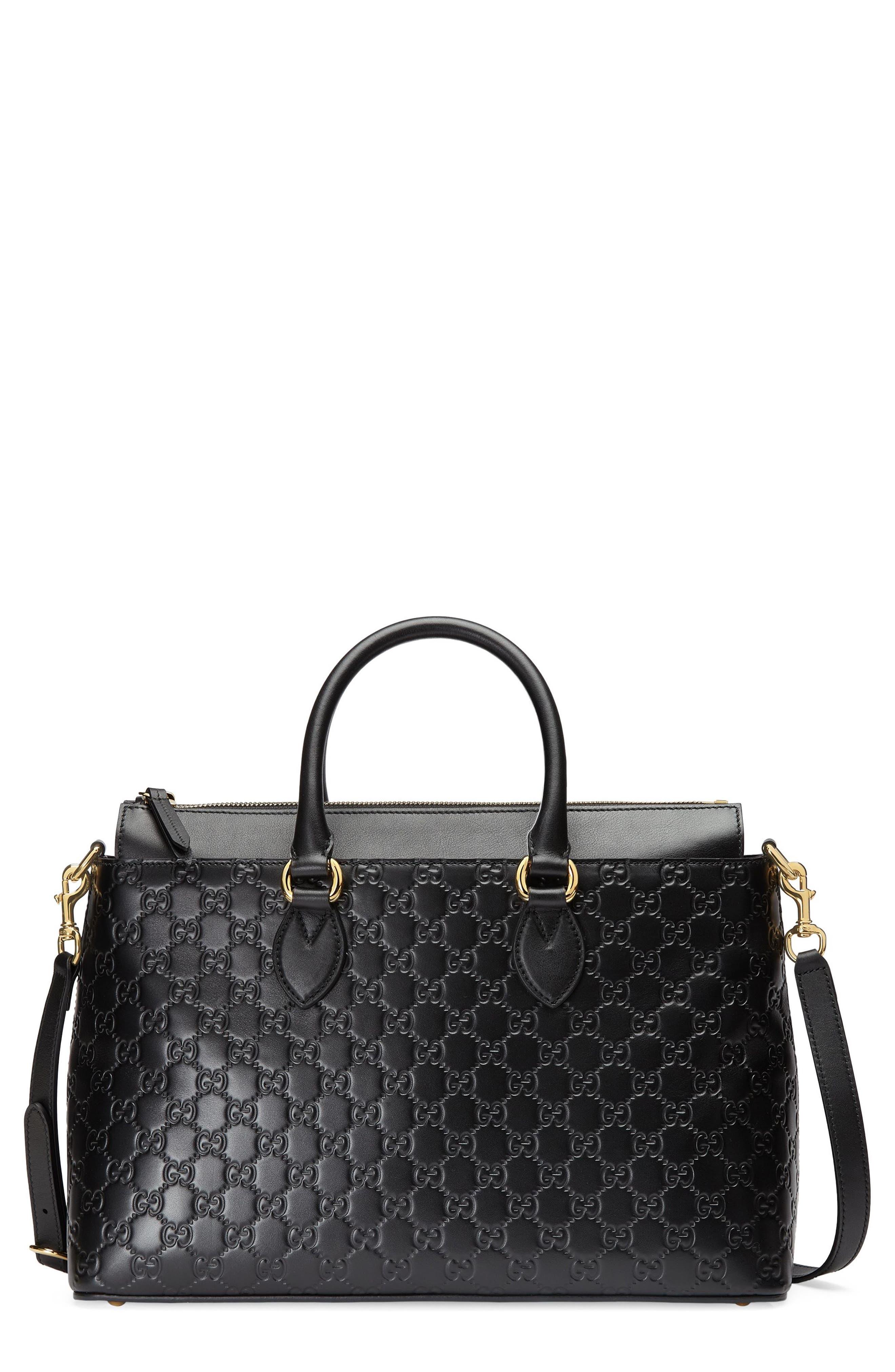 Main Image - Gucci Medium Top Handle Signature Leather Tote