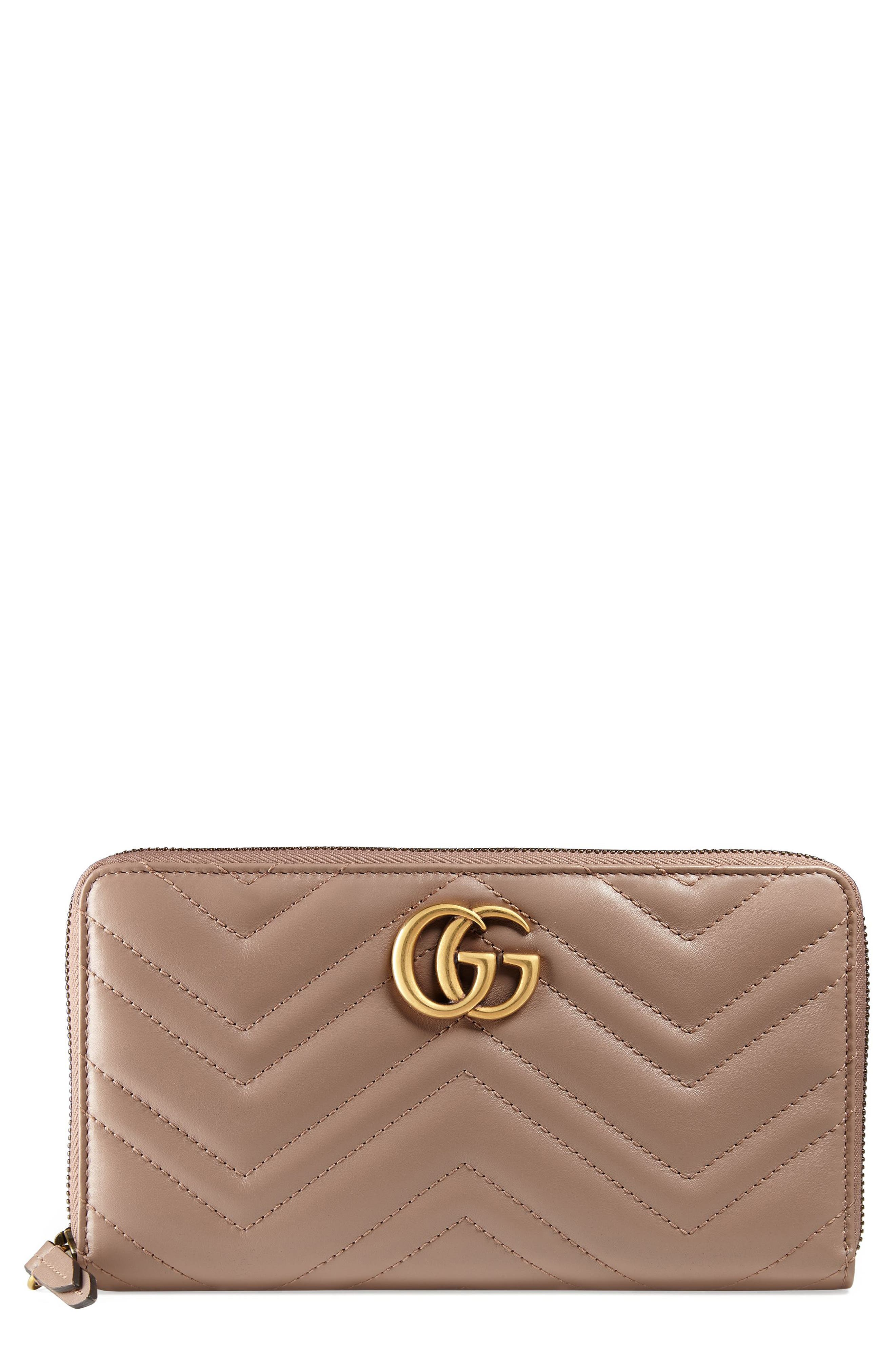 Alternate Image 1 Selected - Gucci GG Marmont Matelassé Leather Zip-Around Wallet