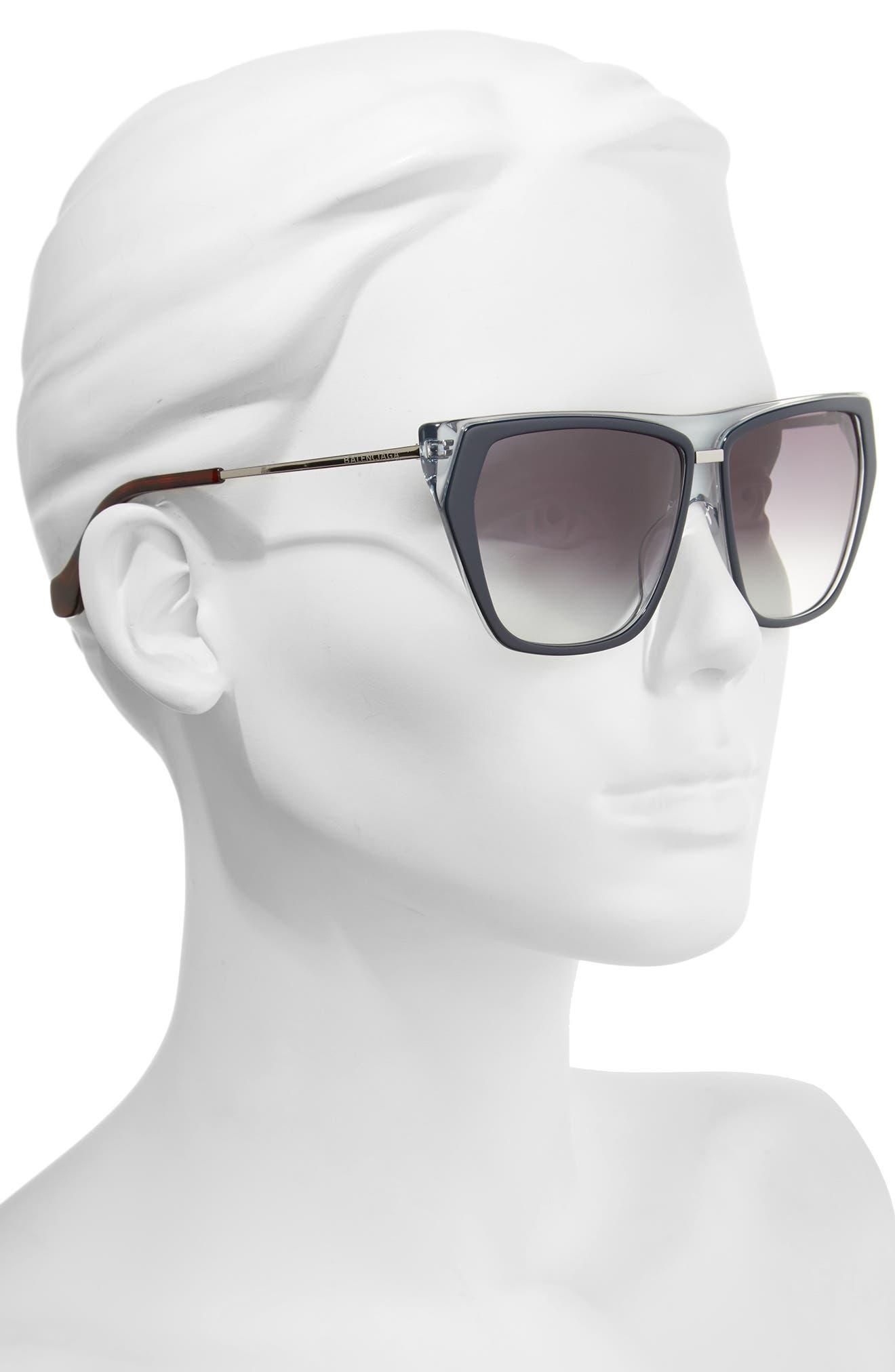 58mm Gradient Sunglasses,                             Alternate thumbnail 2, color,                             Blu Crys/ Havana/ Grdient Smke