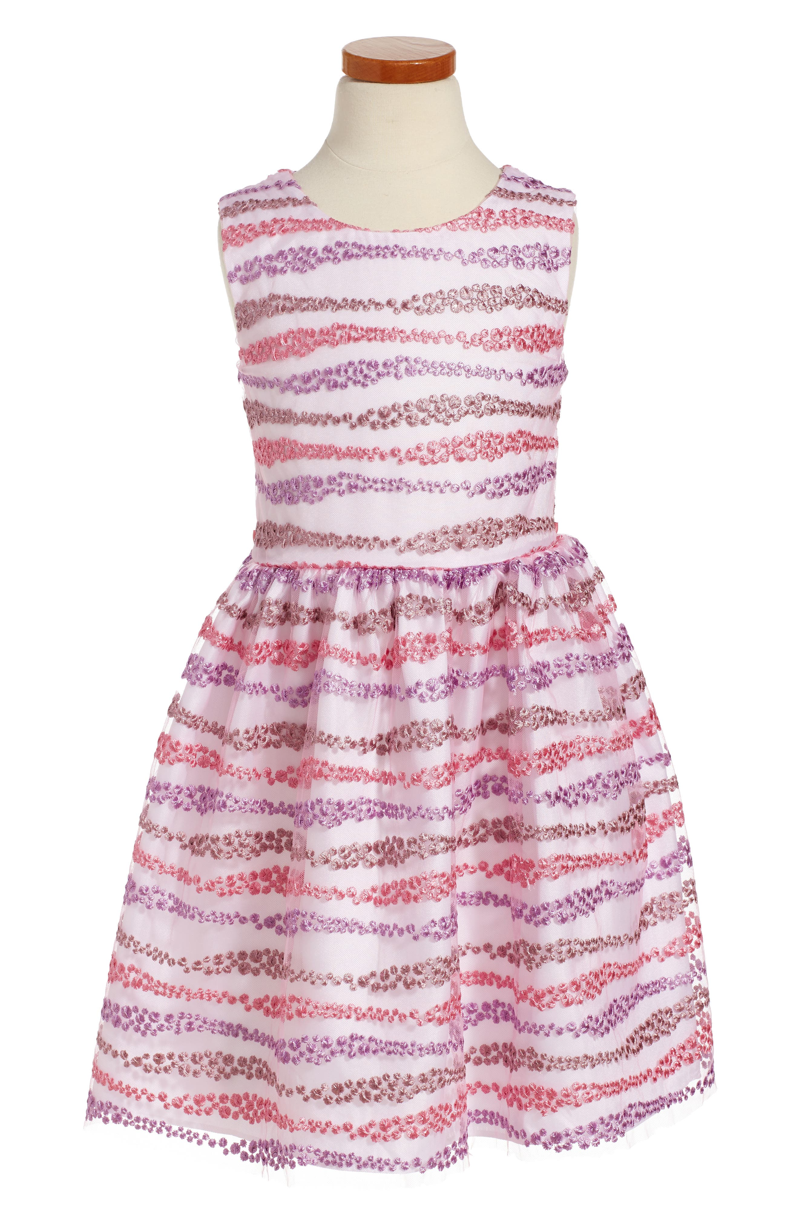 Main Image - Frais Embroidered Fit & Flare Dress (Toddler Girls, Little Girls & Big Girls)
