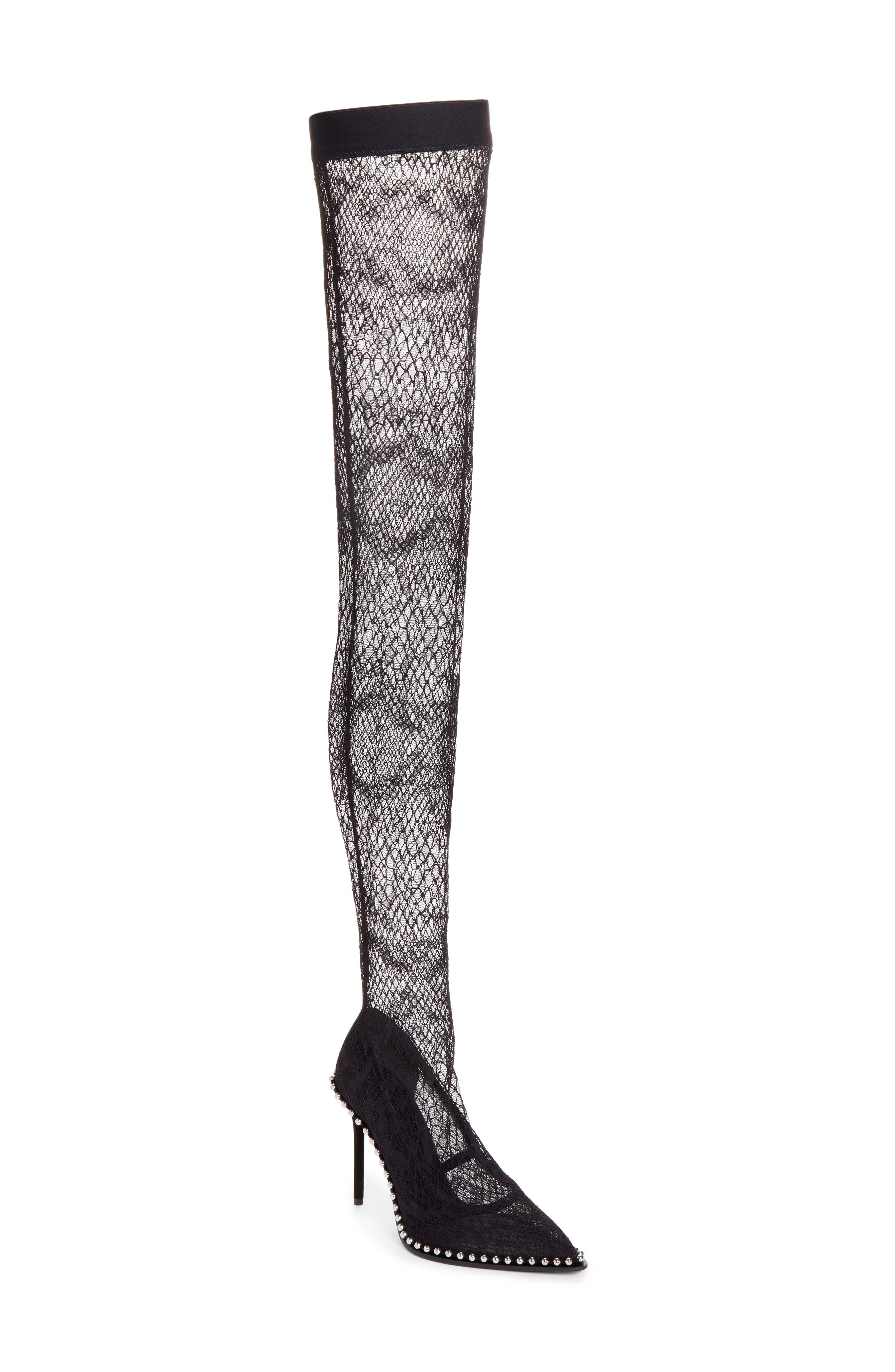 Lyra Thigh-High Fishnet Stocking Pump,                             Main thumbnail 1, color,                             Black
