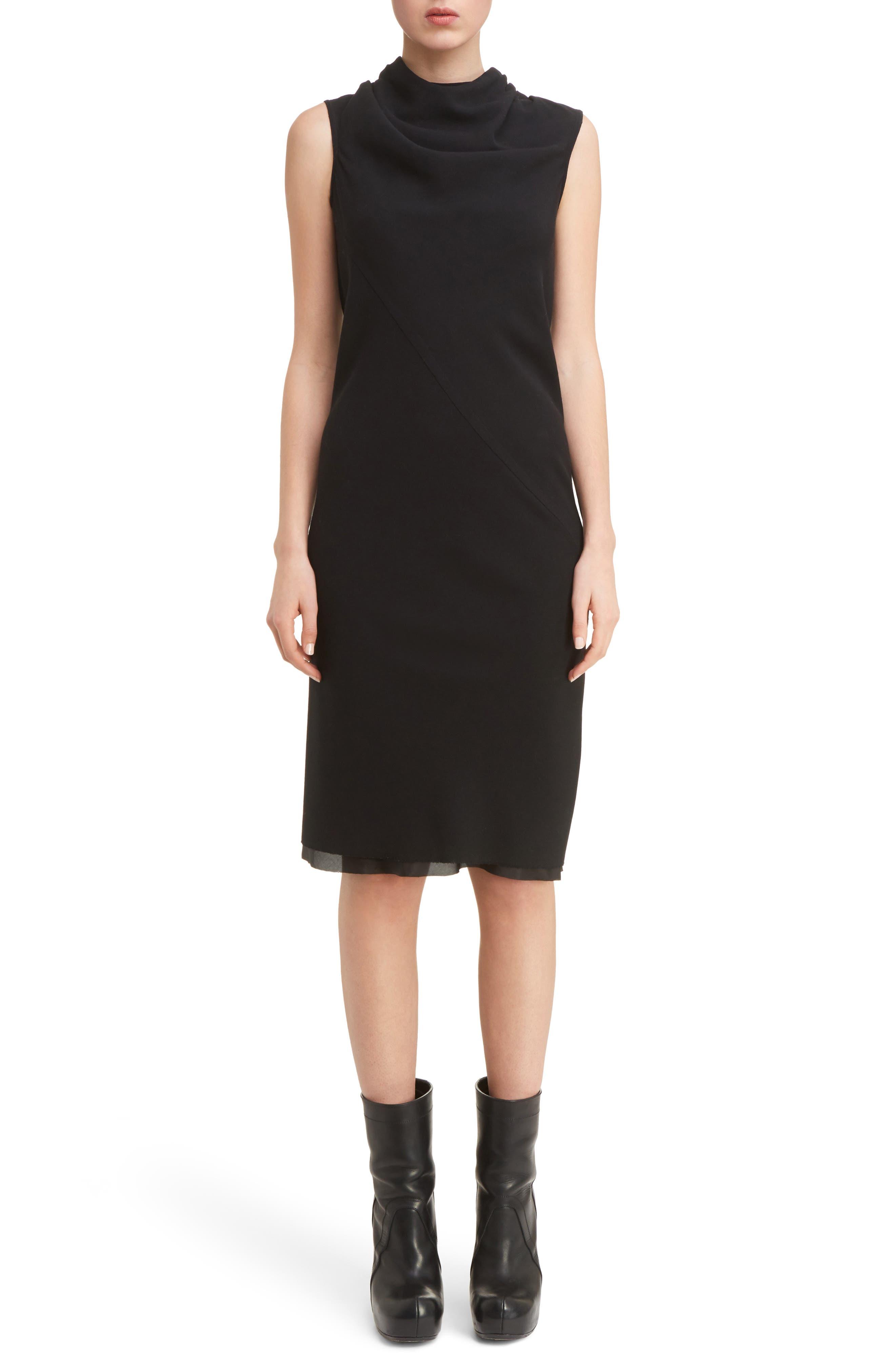 Drape Neck Dress,                             Main thumbnail 1, color,                             Black