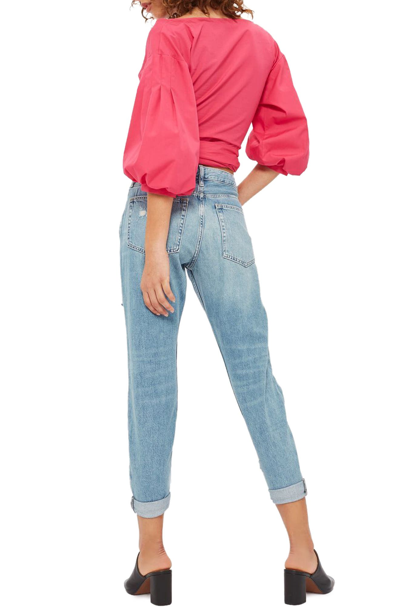 Moto Hayden Super Ripped Boyfriend Jeans,                             Alternate thumbnail 3, color,                             Light Denim