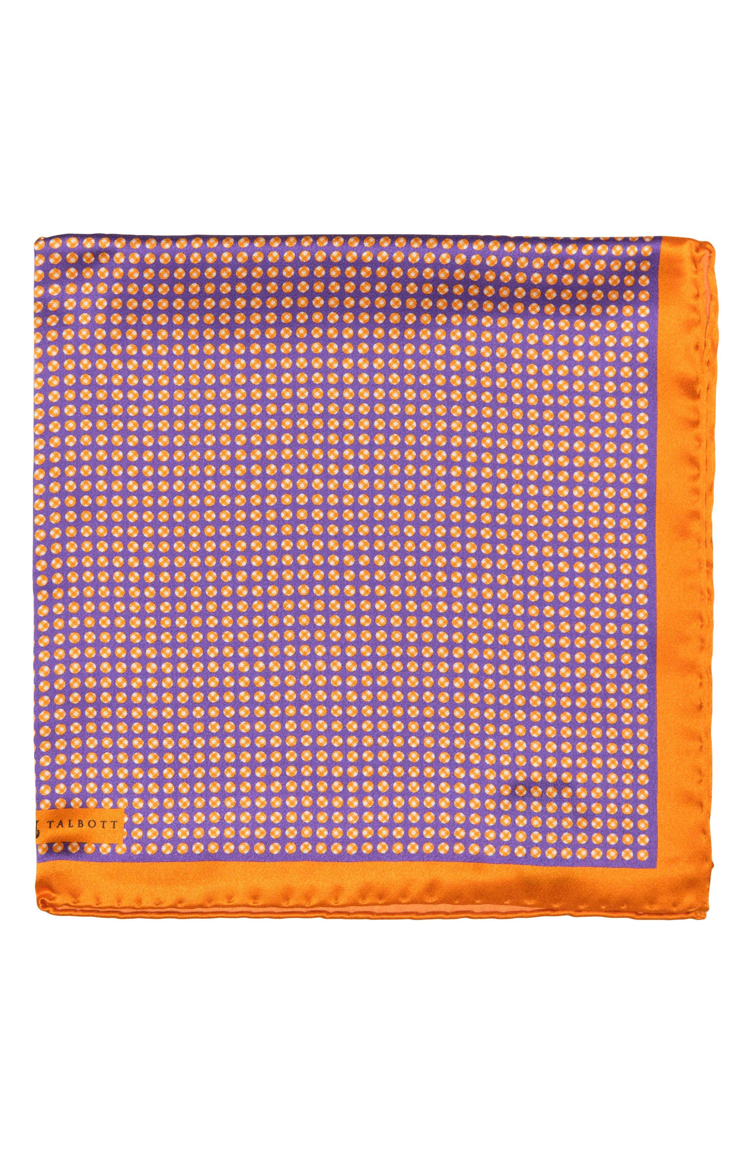 Dot Silk Pocket Square,                         Main,                         color, Purple 2