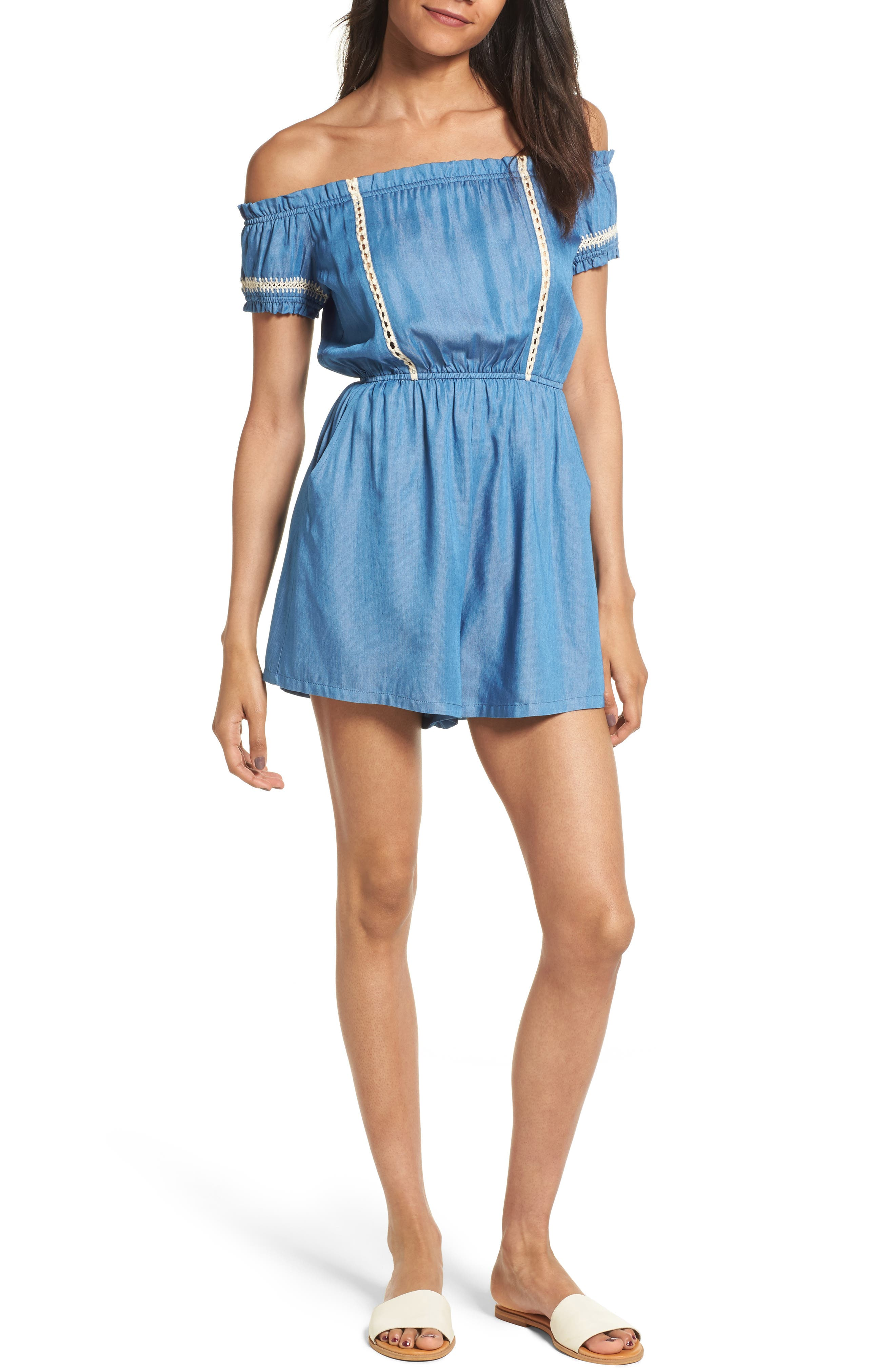 Main Image - Lush Chambray Off the Shoulder Romper