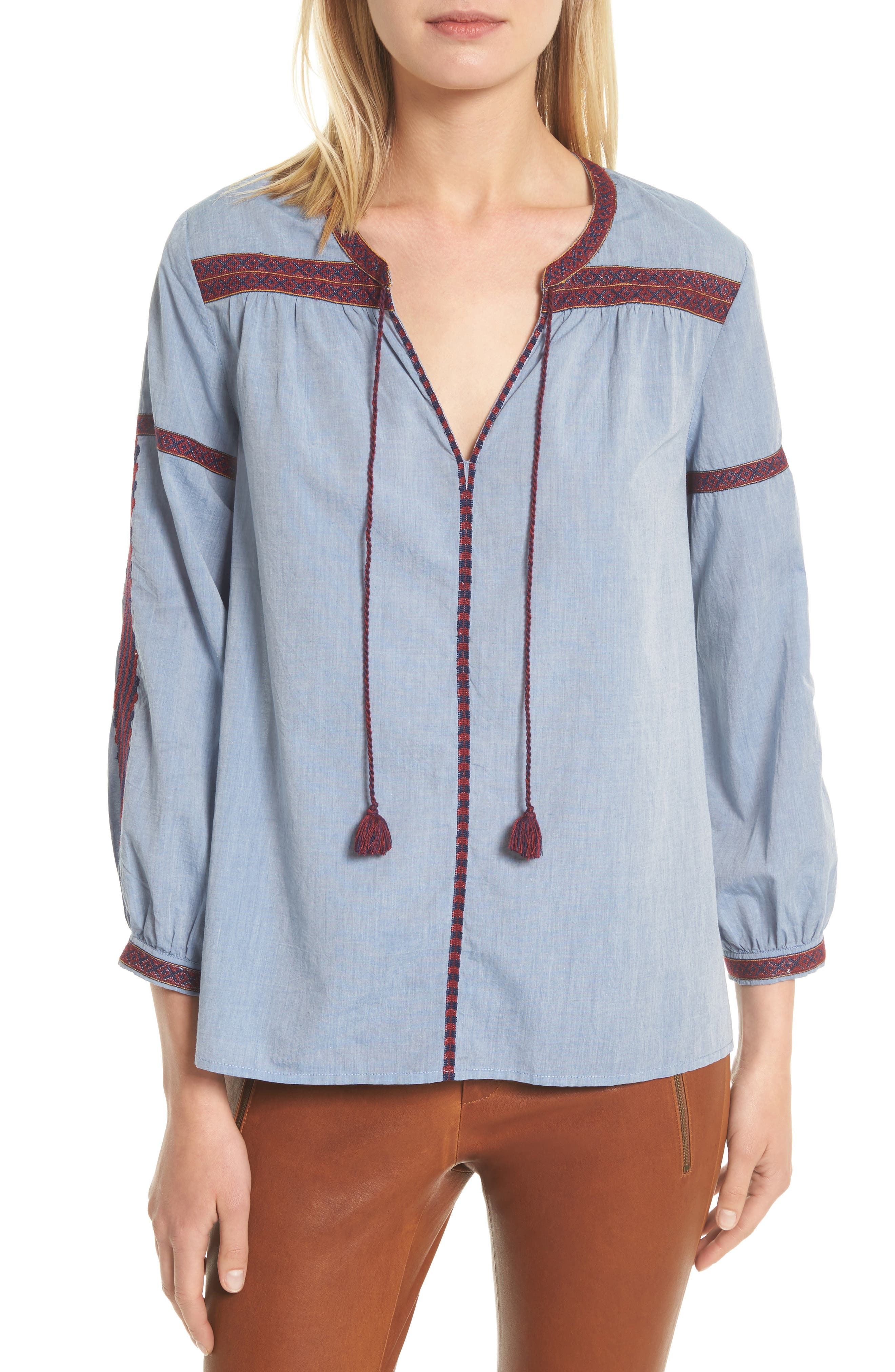 Marlen Embroidered Chambray Top,                         Main,                         color, Chambray/ Currant/ Dark Navy