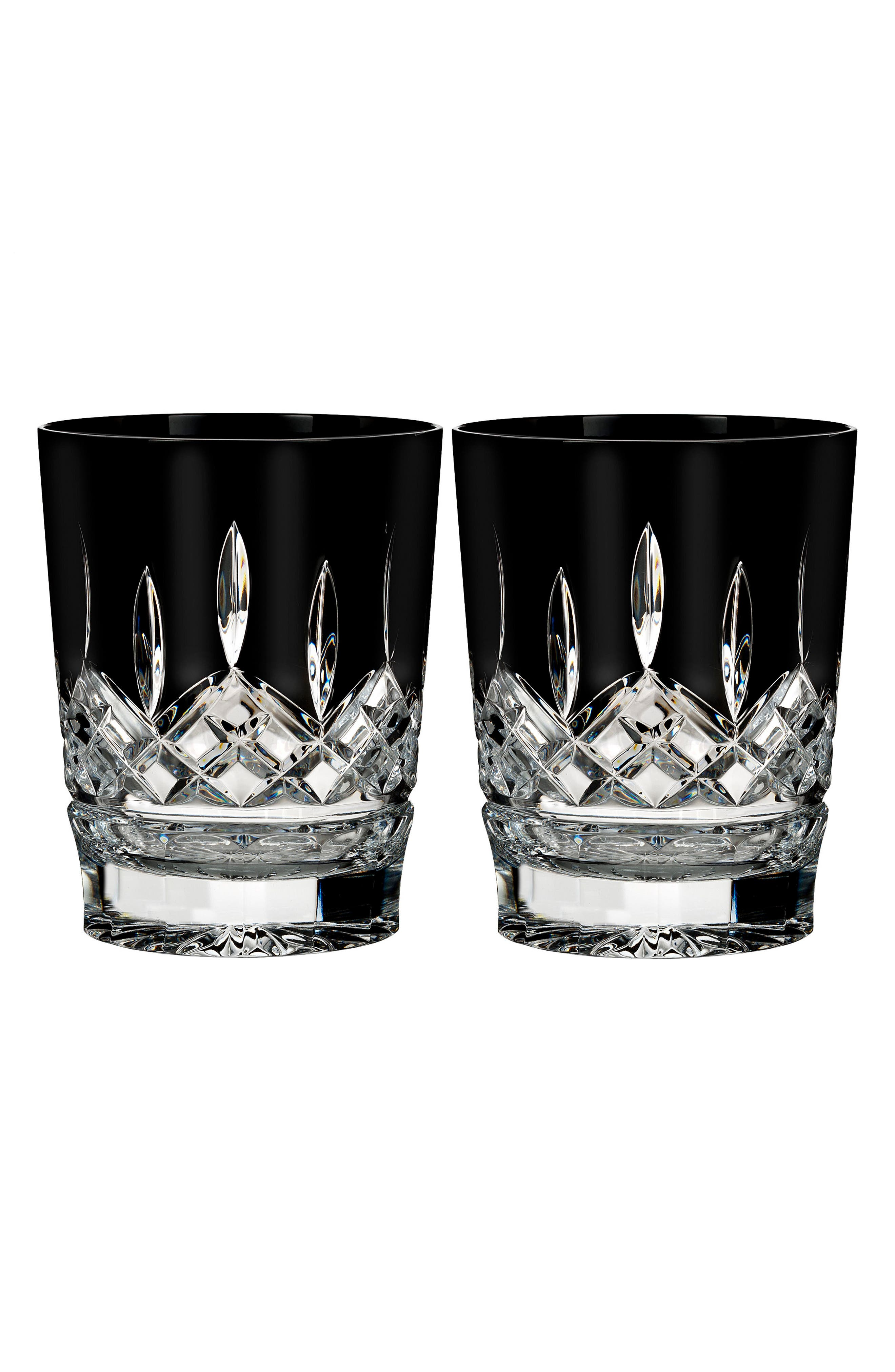 Waterford Lismore Diamond Set of 2 Black Lead Crystal Double Old Fashioned Glasses