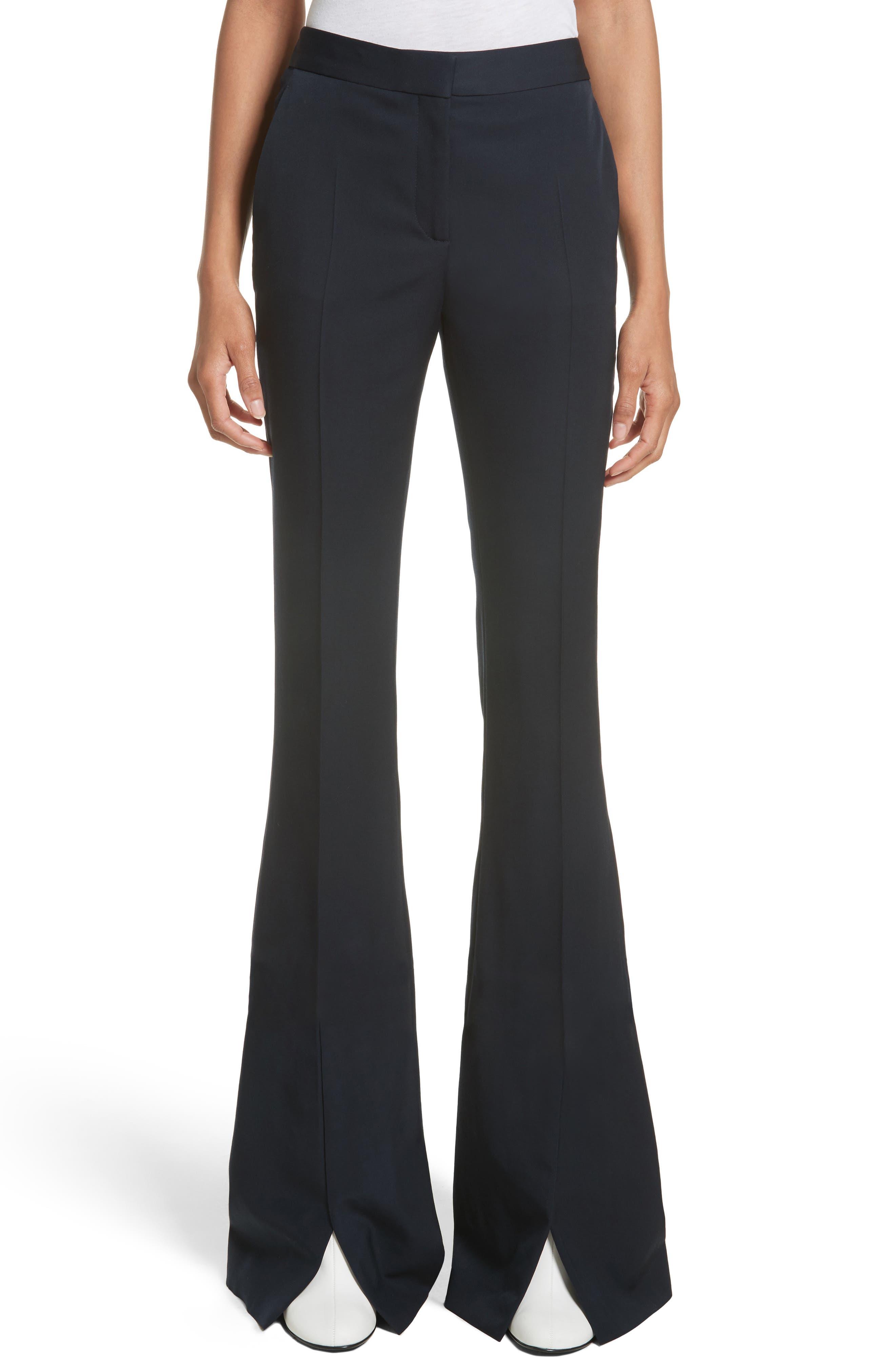 Split Hem Flare Trousers,                         Main,                         color, Ink