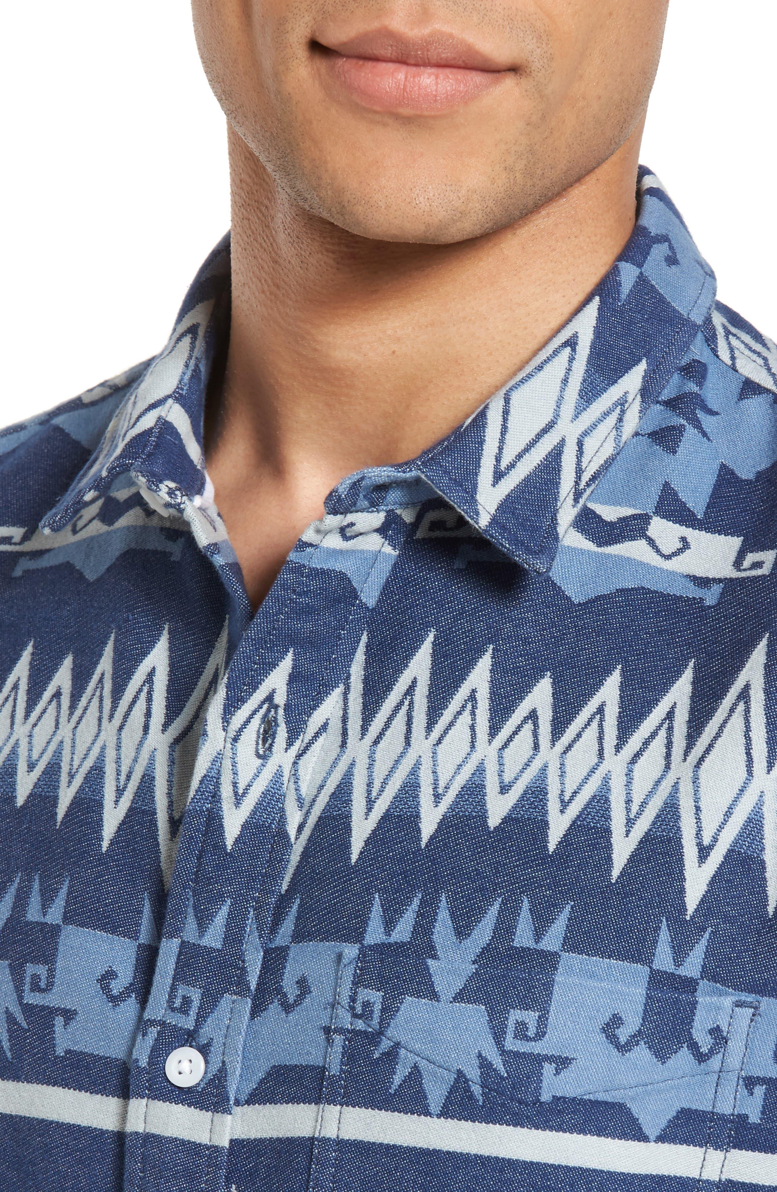 Geo Jacquard Shirt,                             Alternate thumbnail 4, color,                             Blue Dusk Oversize Geo