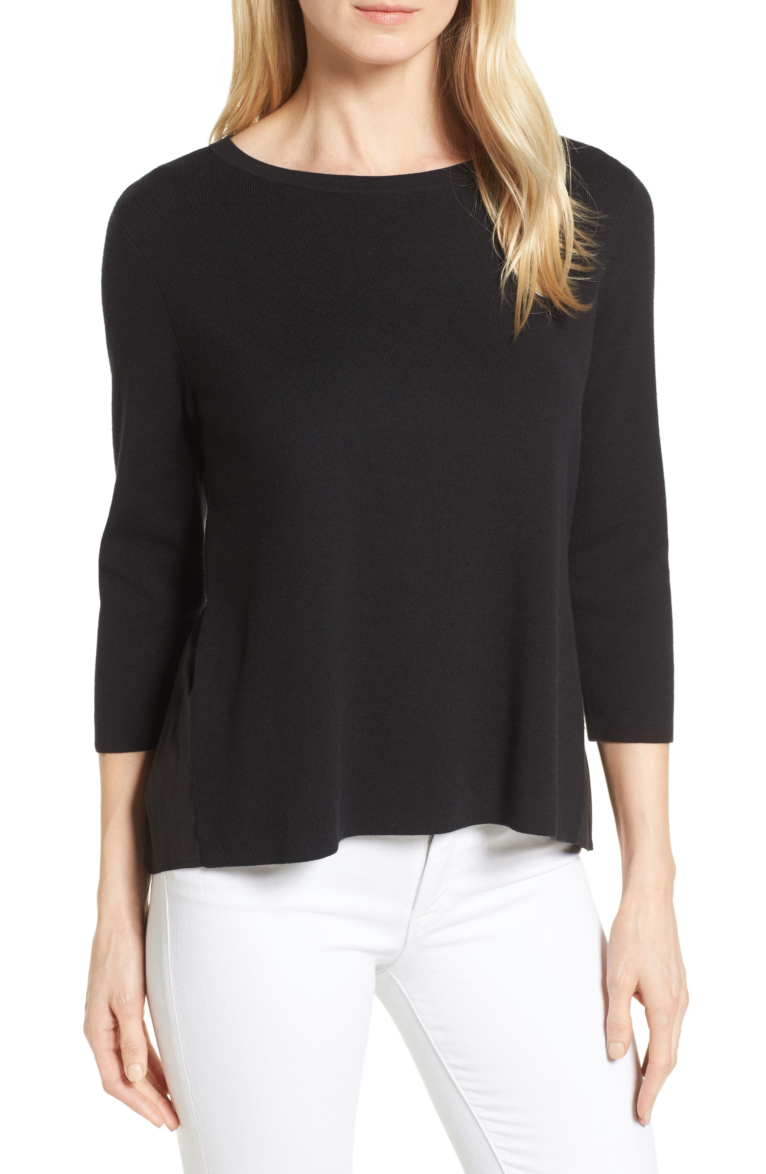 Halogen® Poplin Back Sweater