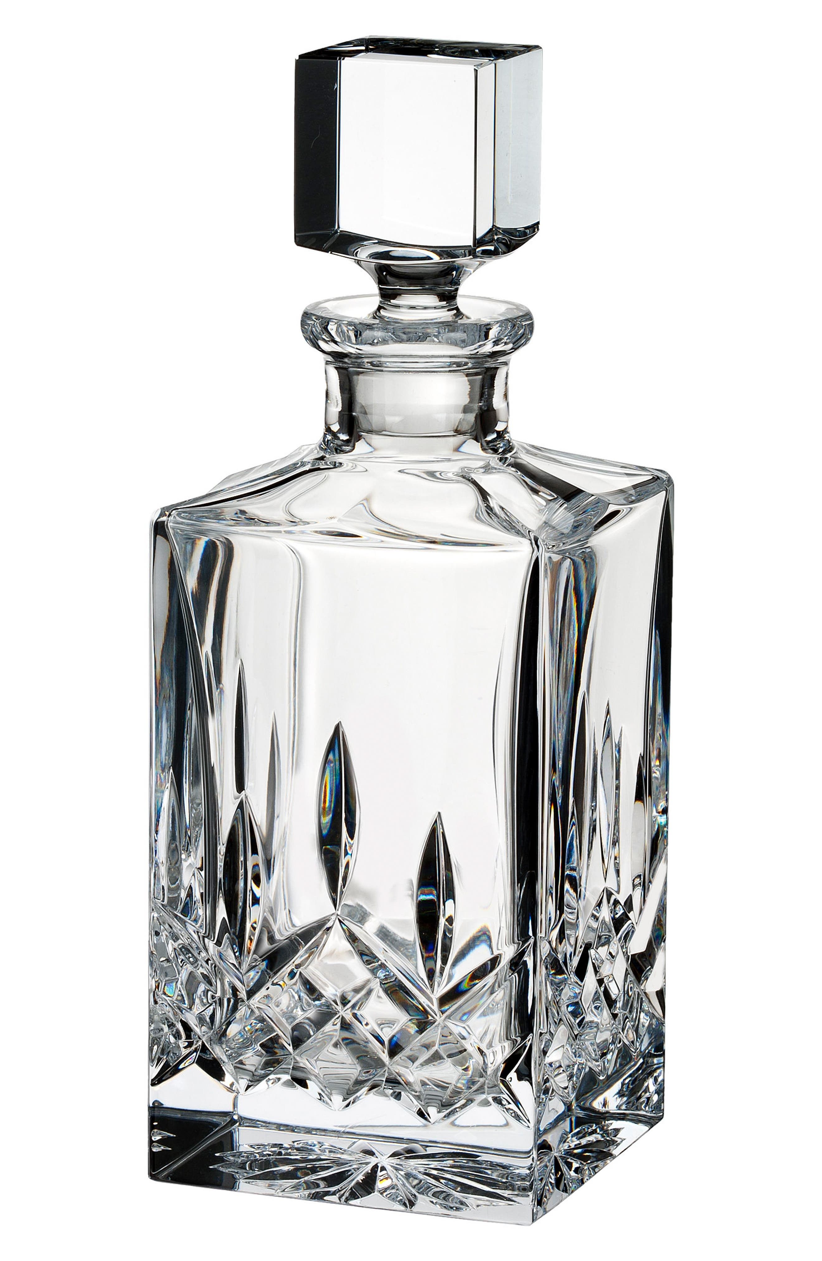 Lismore Clear Square Lead Crystal Decanter,                             Main thumbnail 1, color,                             Crystal