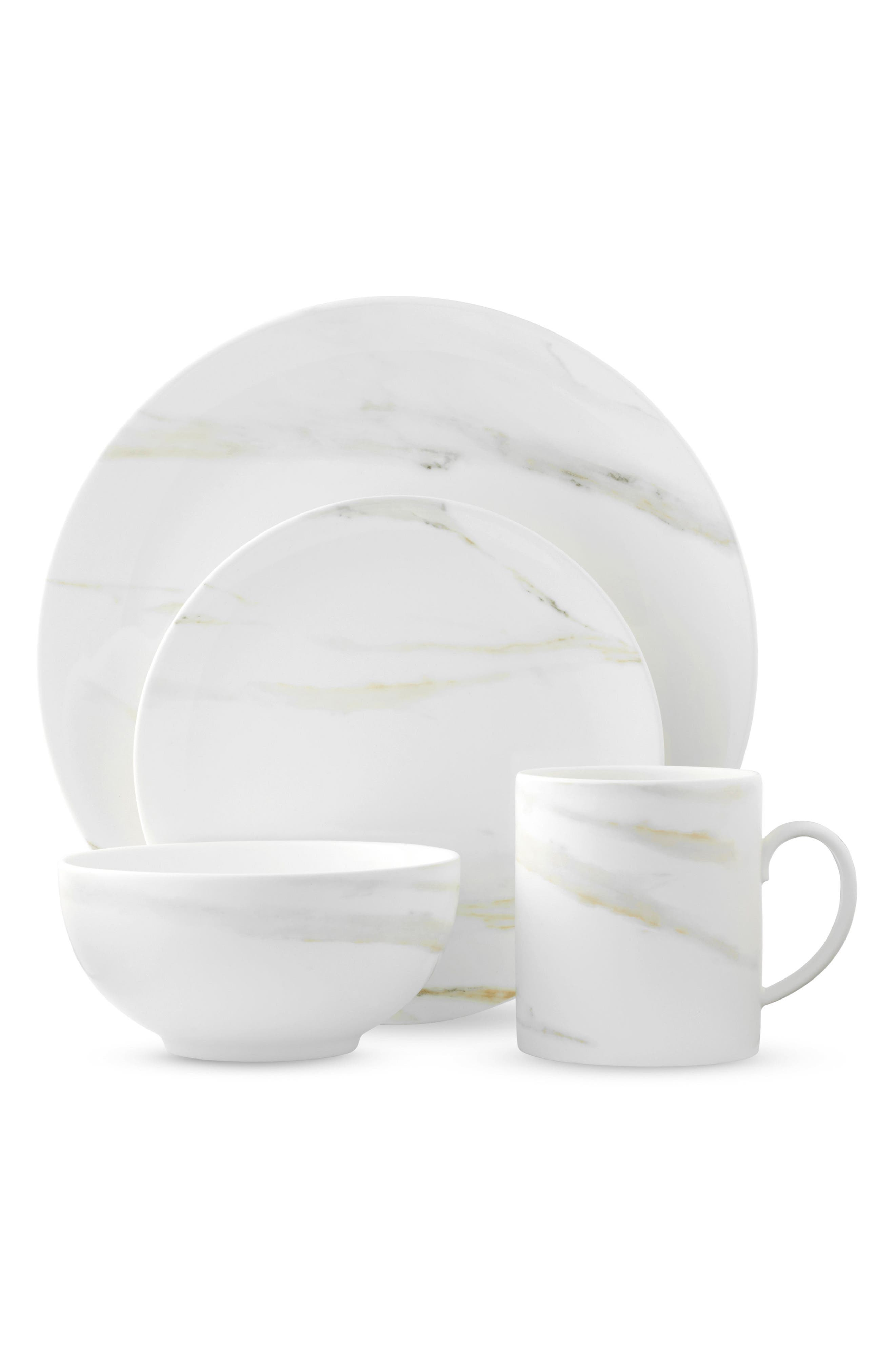 Main Image - Vera Wang x Wedgwood Venato Imperial 4-Piece Bone China Dinnerware Place Setting