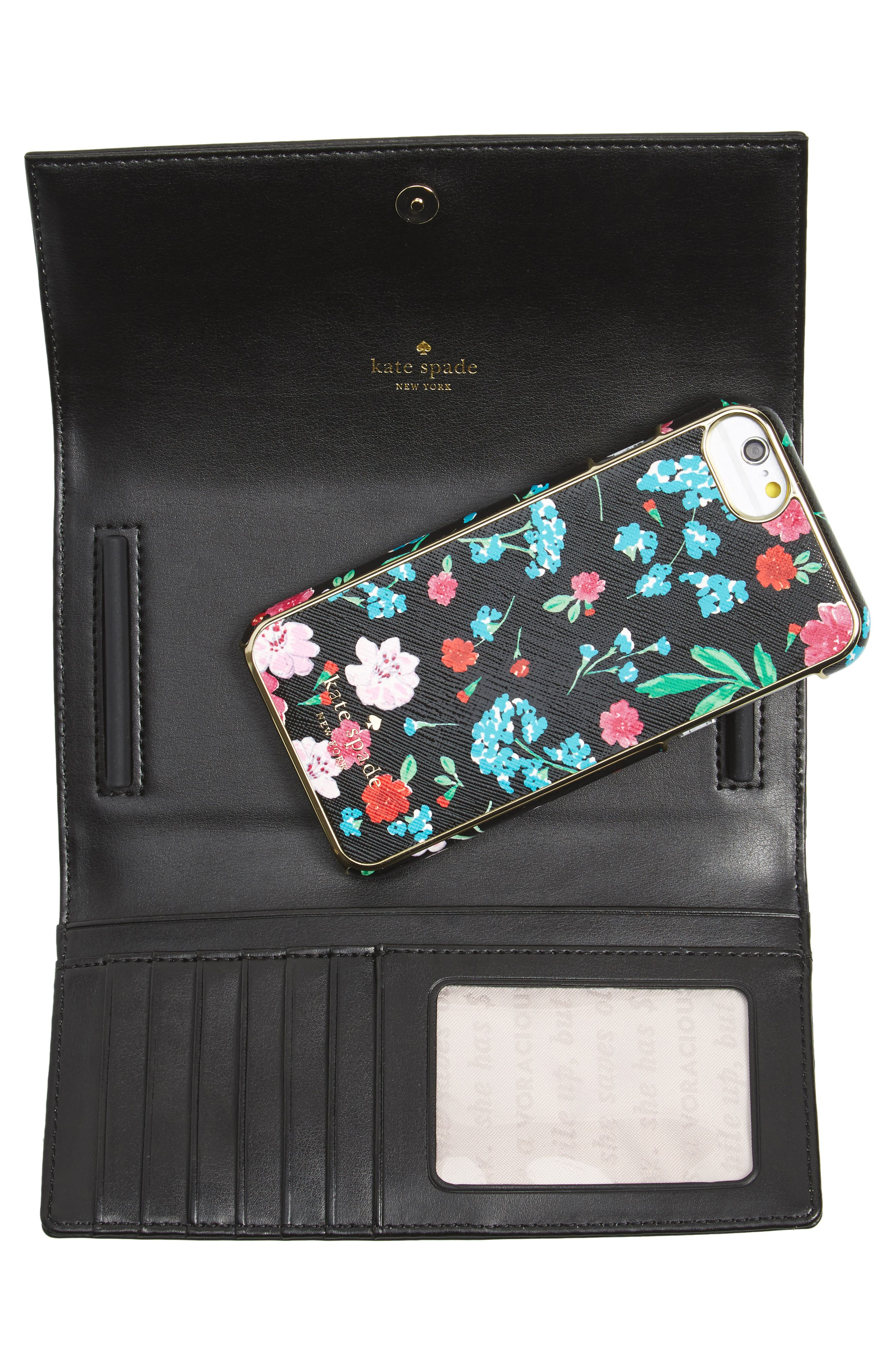 greenhouse leather iPhone 7/8 wallet,                             Alternate thumbnail 4, color,                             Black Multi