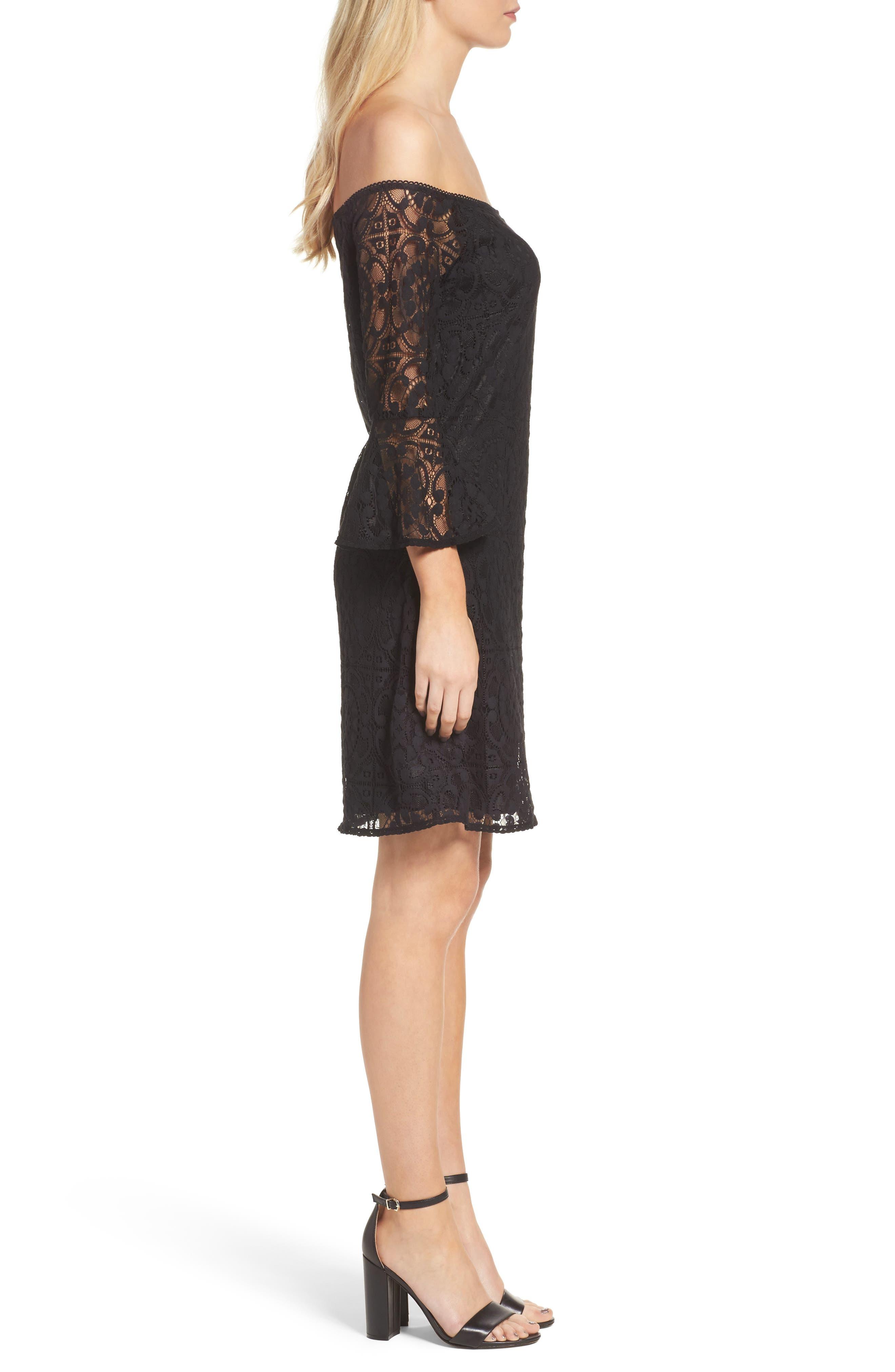 Lace A-Line Dress,                             Alternate thumbnail 3, color,                             Black