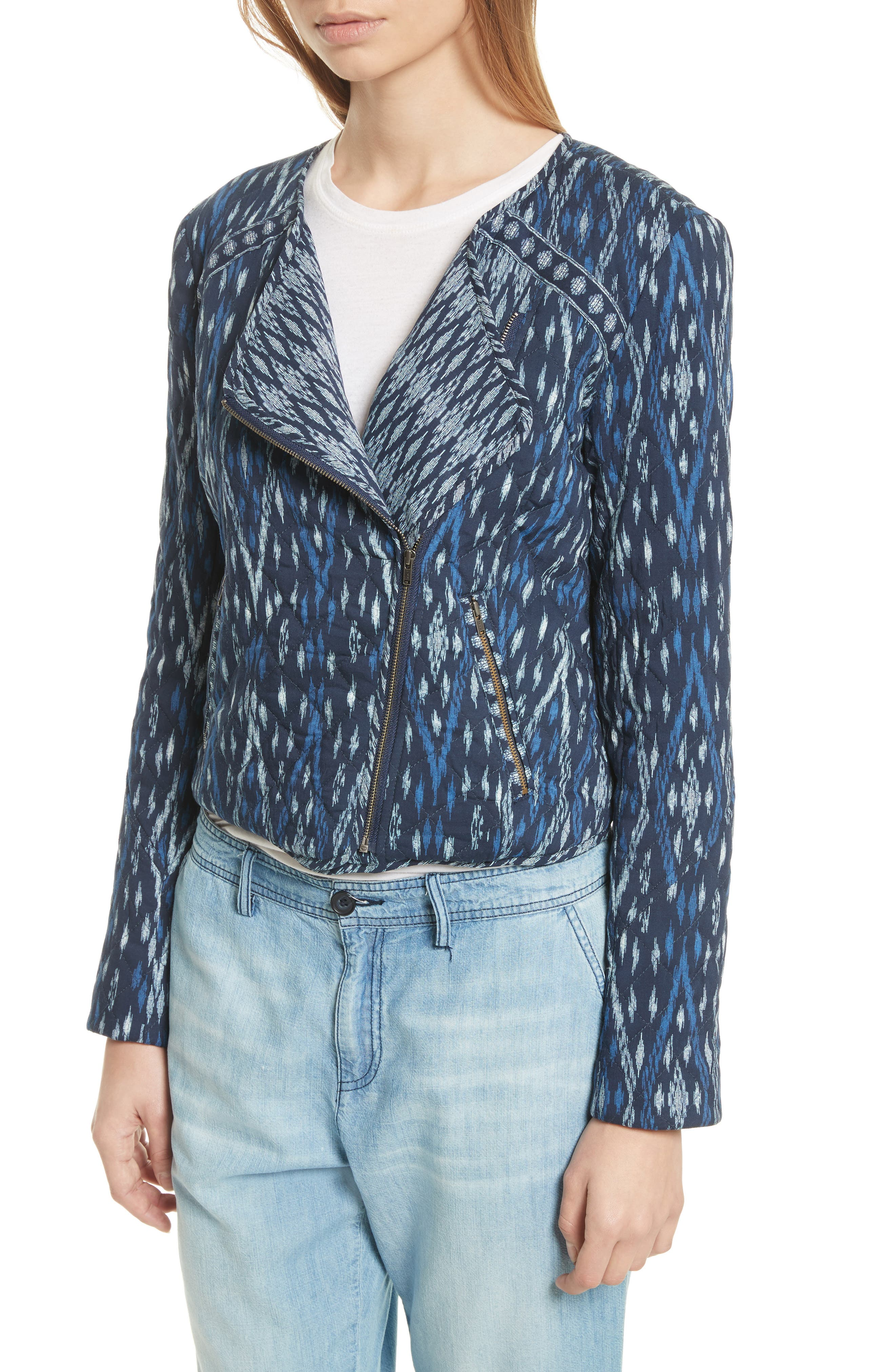 Akinyi Quilted Crop Jacket,                             Alternate thumbnail 4, color,                             Dark Navy