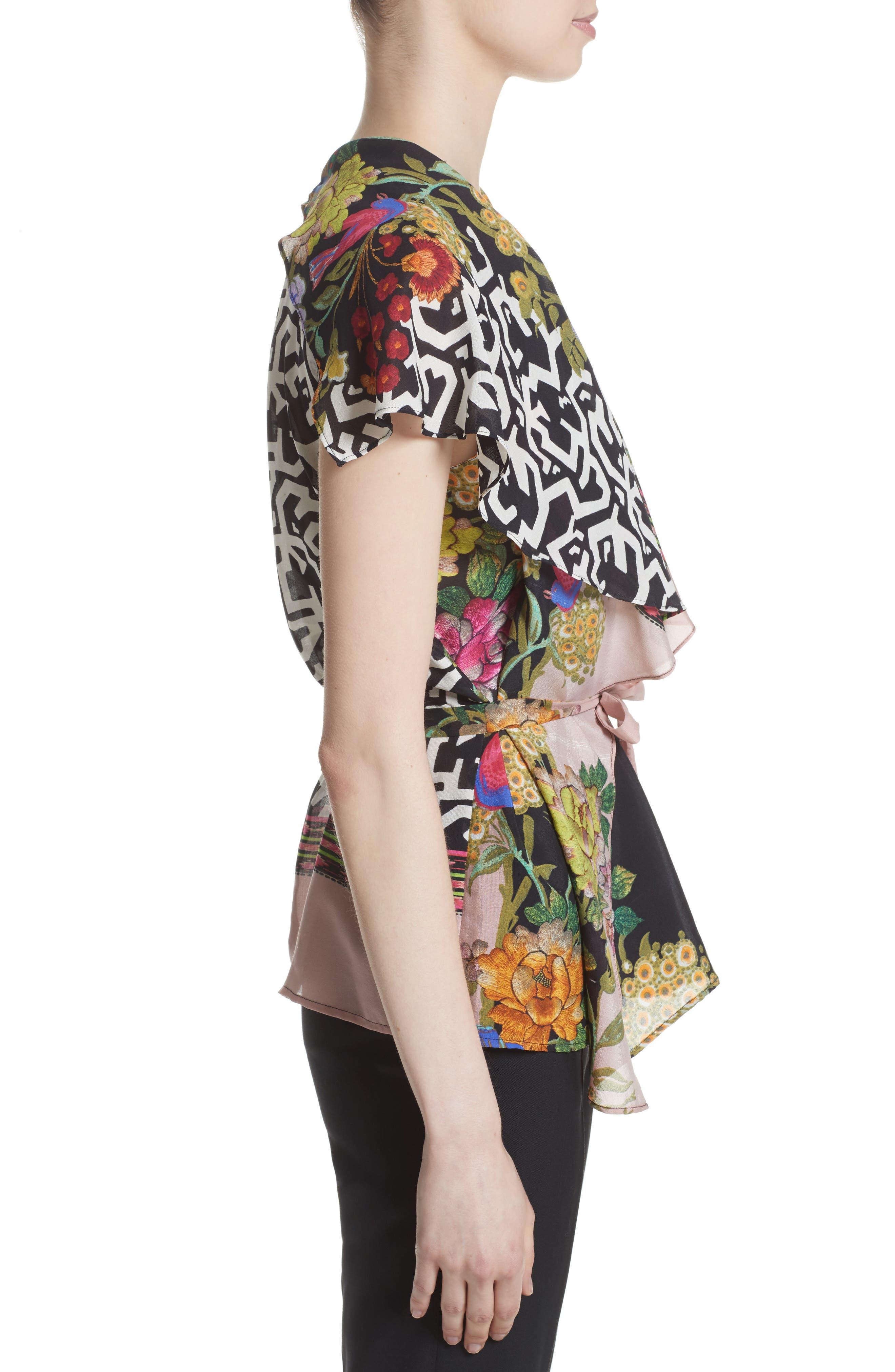 Floral & Maze Print Silk Blouse,                             Alternate thumbnail 5, color,                             Pink