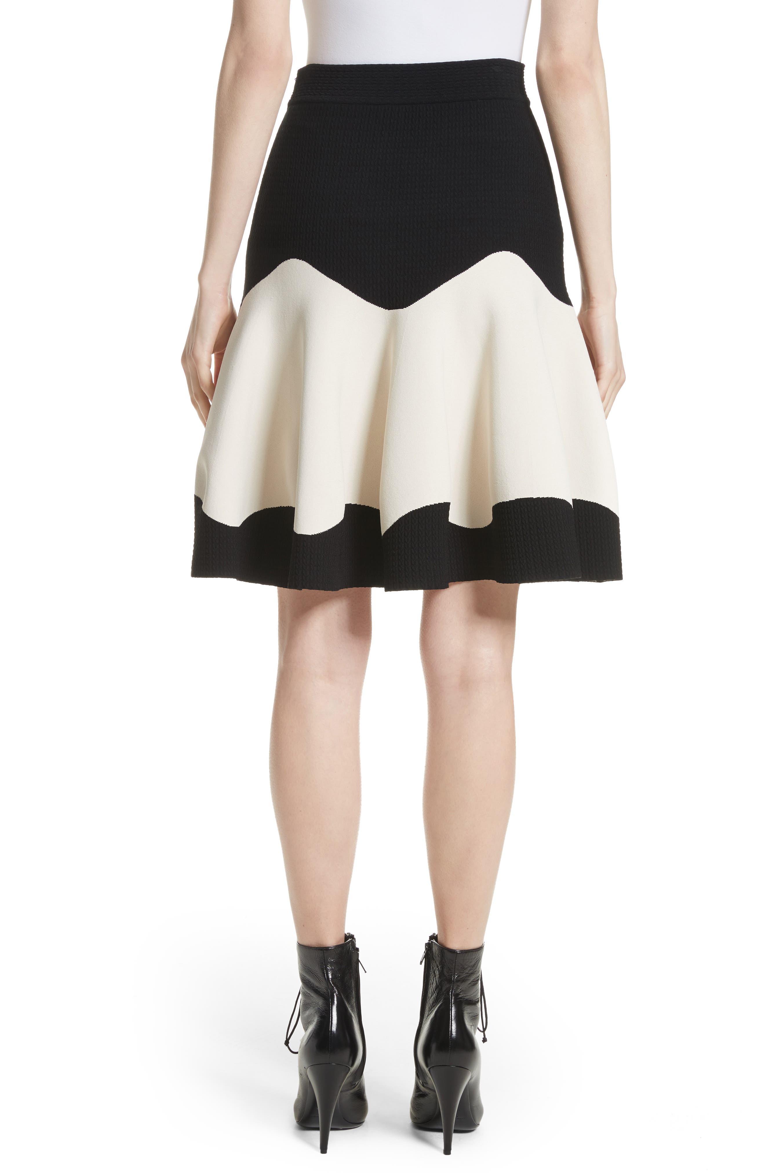 Bicolor Contrast Jacquard Flounce Skirt,                             Alternate thumbnail 2, color,                             Black/ Ivory