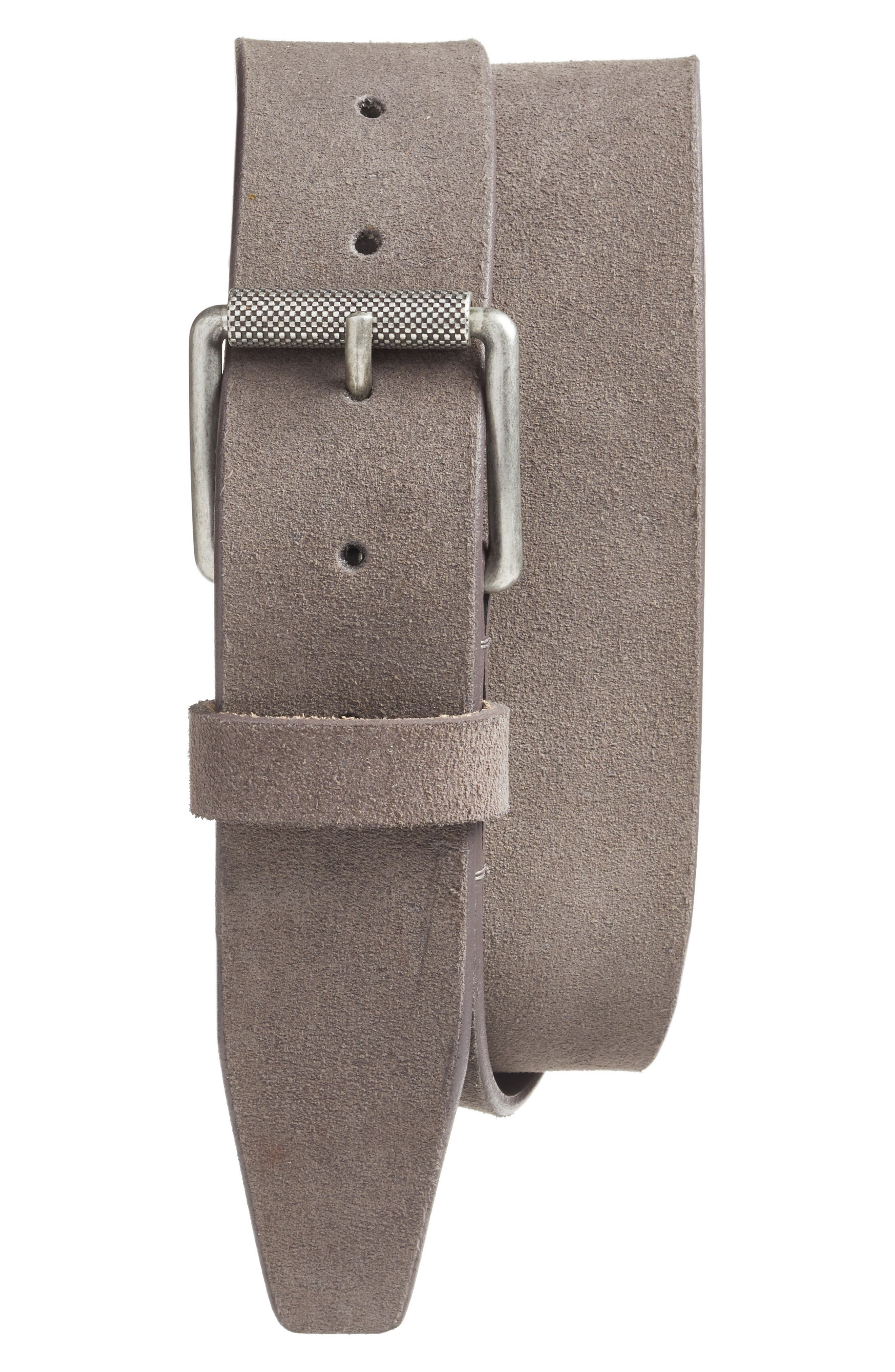 Adrian Roller Buckle Suede Belt,                         Main,                         color, Grey Excalibur