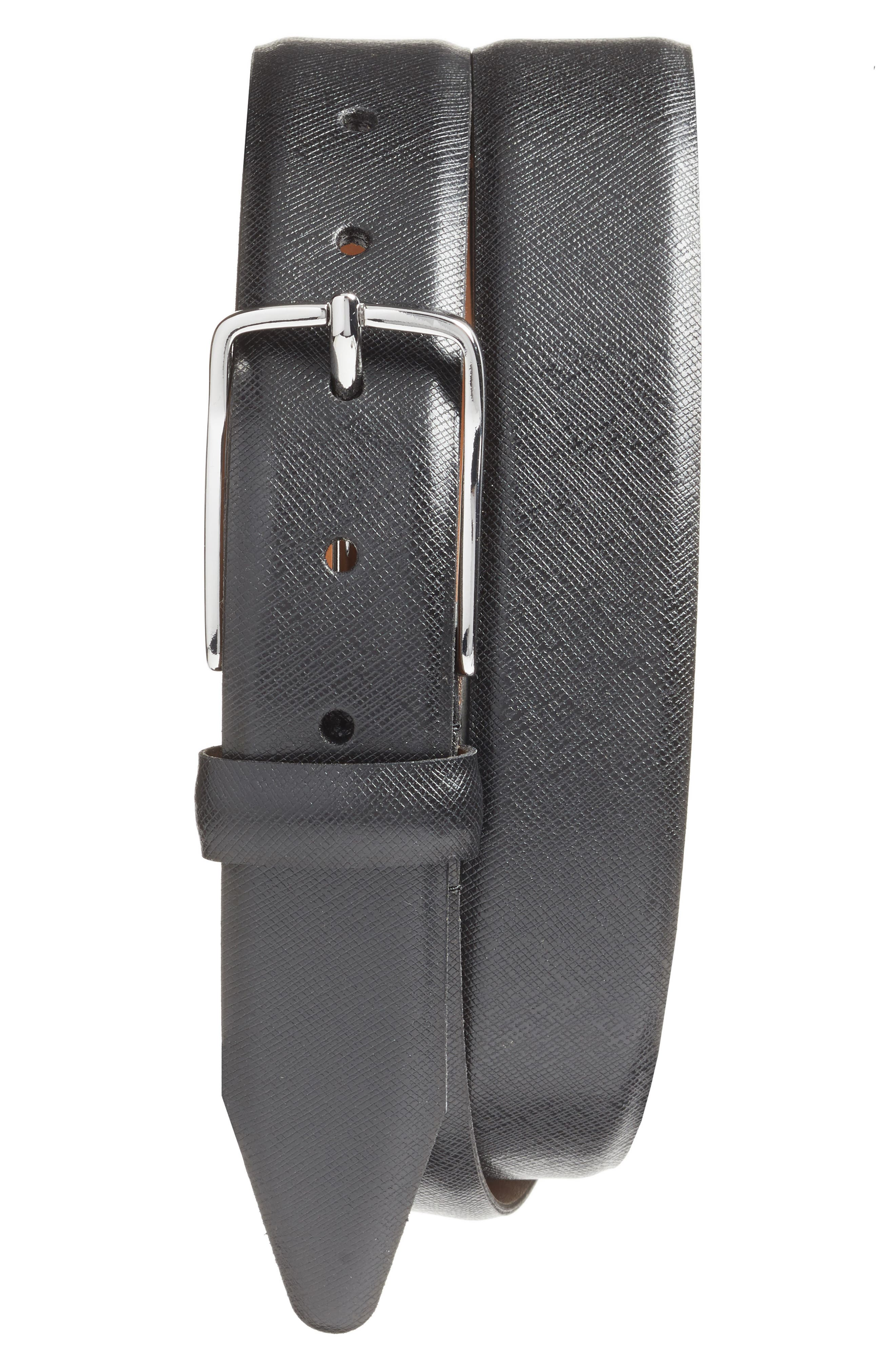 Alternate Image 1 Selected - Nordstrom Men's Shop Evans Saffiano Leather Belt