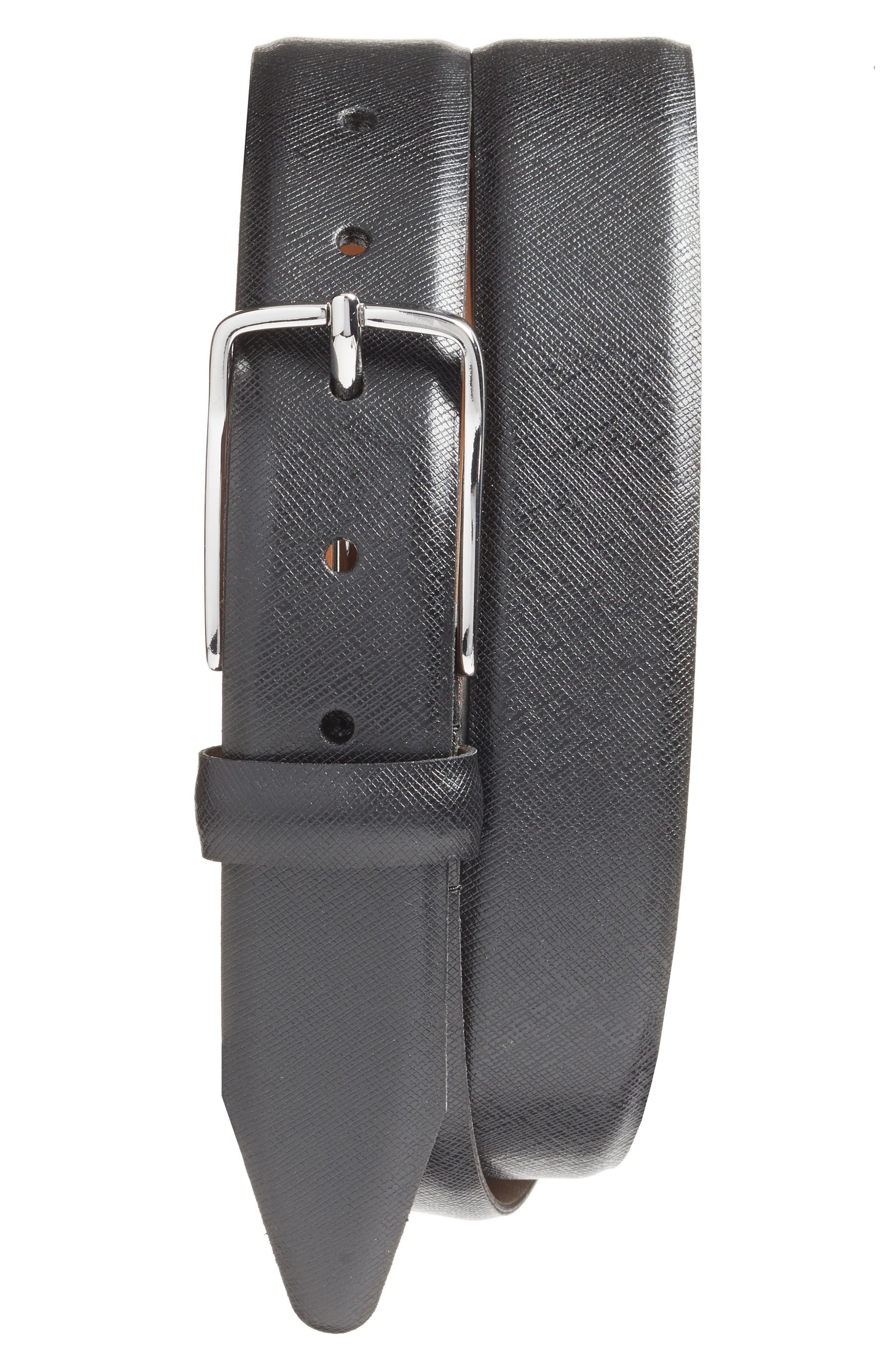 Evans Saffiano Leather Belt,                         Main,                         color, Black