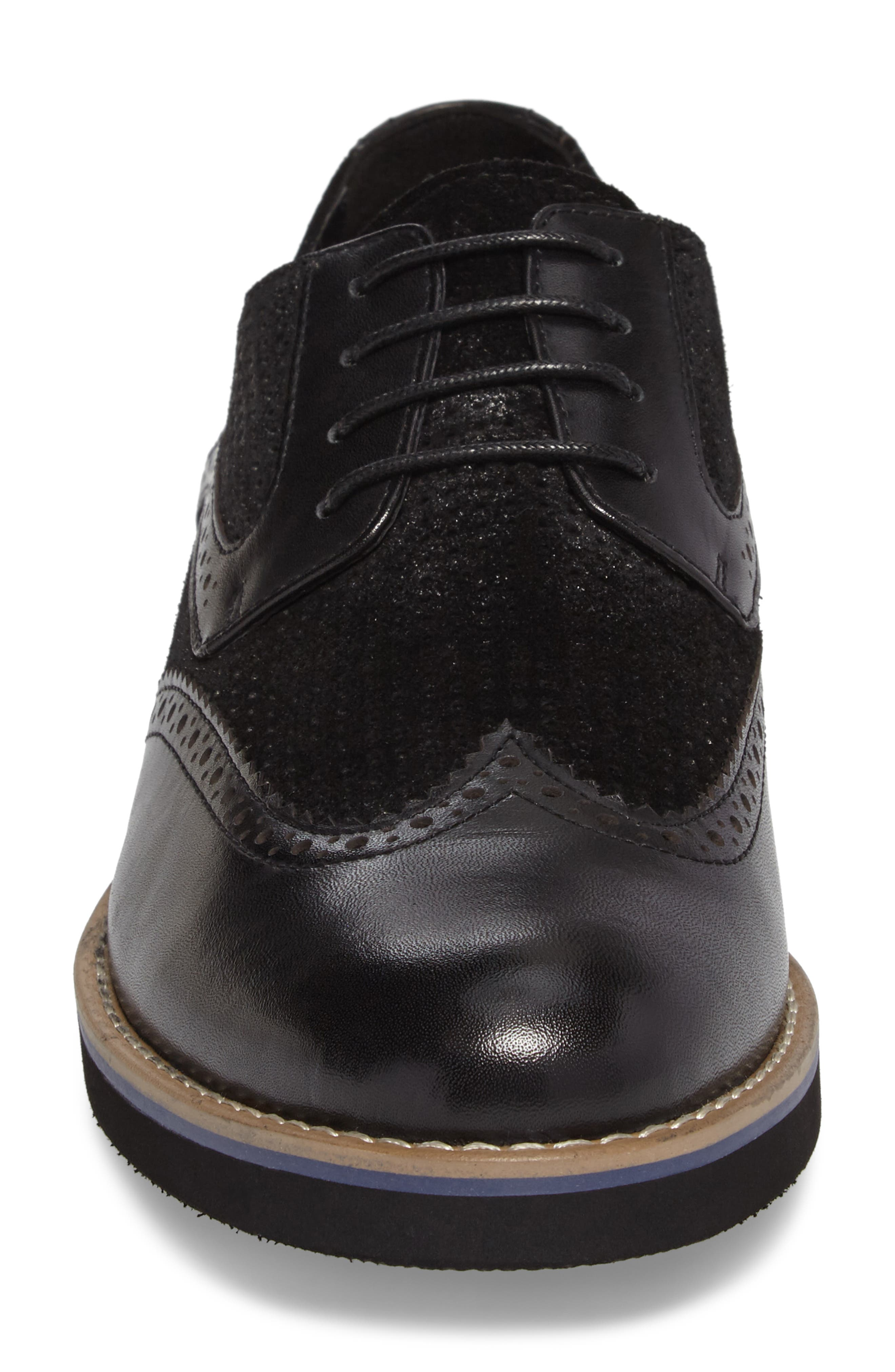 Maritime Spectator Shoe,                             Alternate thumbnail 4, color,                             Black Leather
